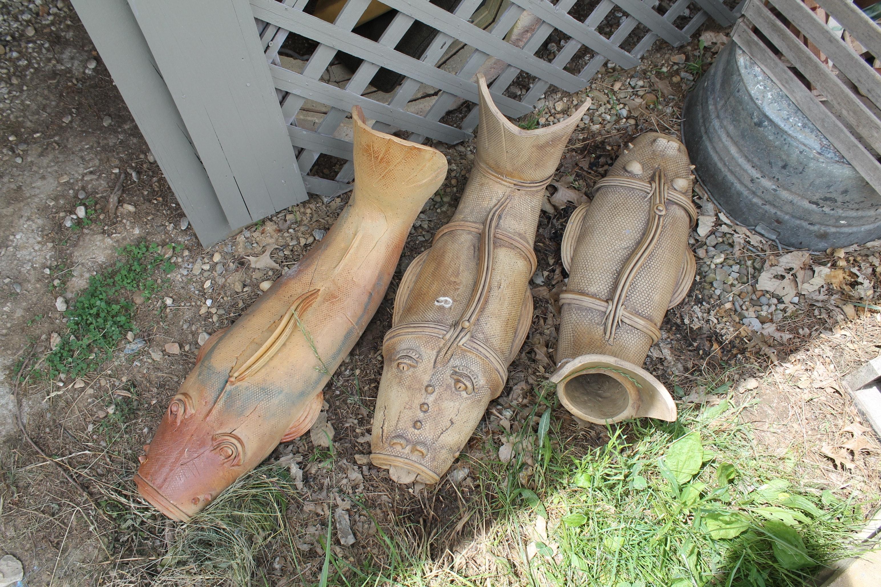 "Fred Borthwick Handbuilt Stoneware Downspout ""Gutter Fish"""