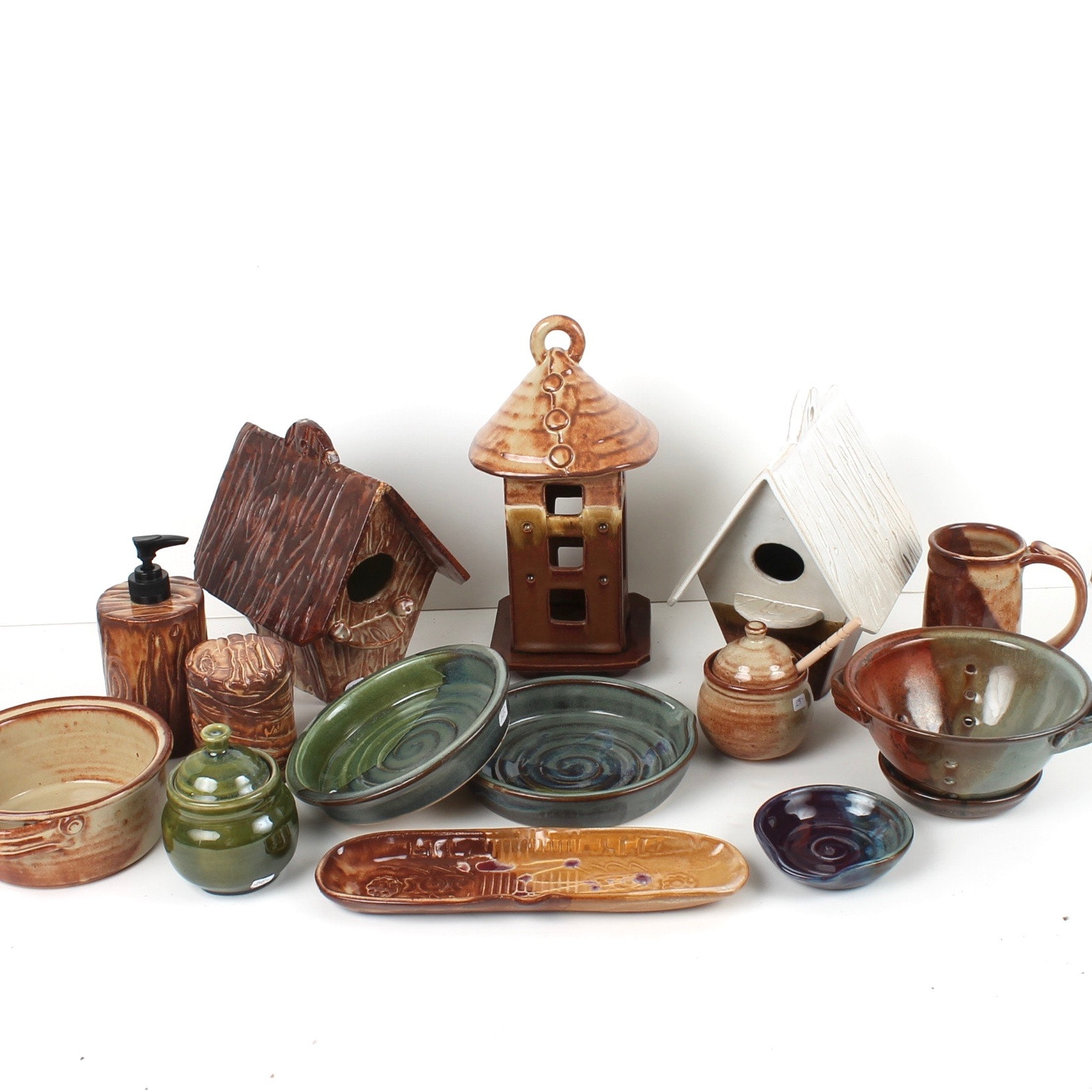 Fred Borthwick Hand Thrown Pottery with Bird Houses