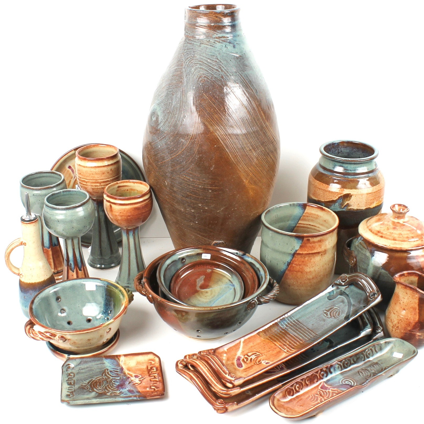 Fred Borthwick Blue and Brown Glazed Art Pottery Collection