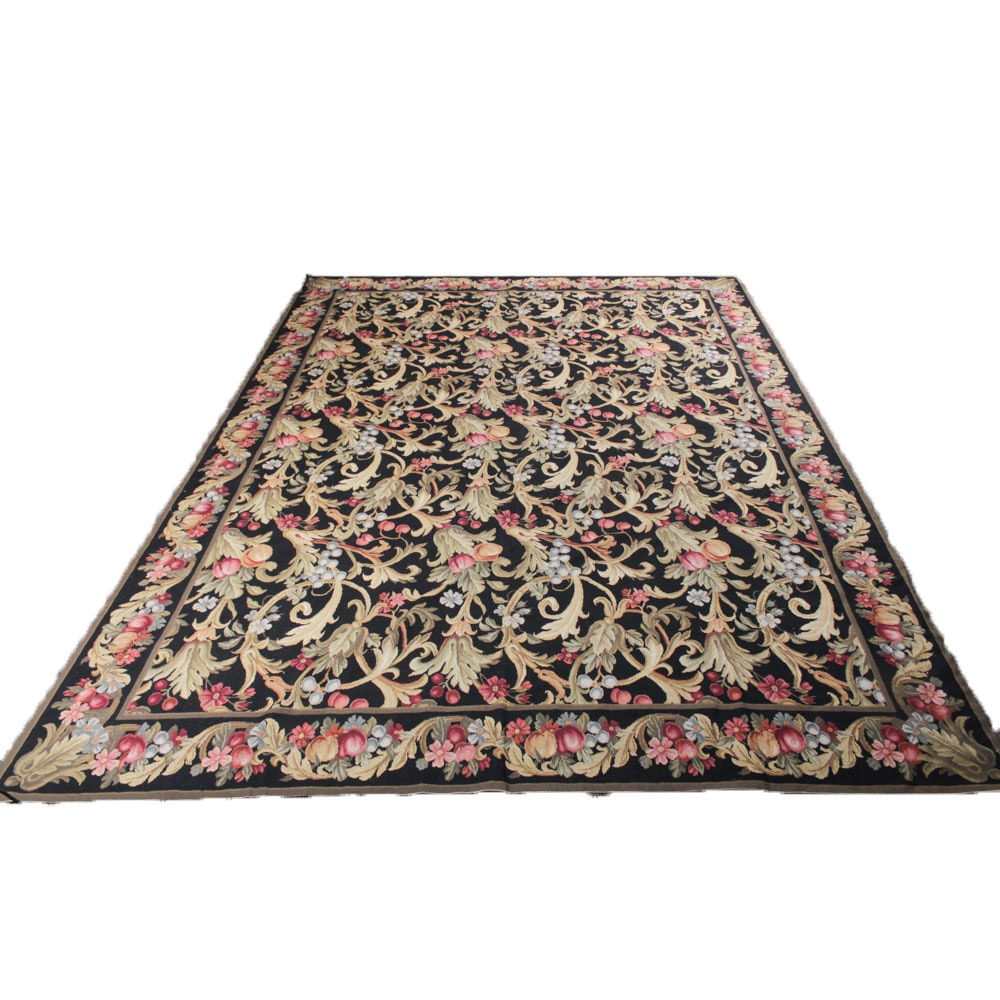 9'3 x 12'3 Handwoven French Savonnerie-Style Needlepoint Rug