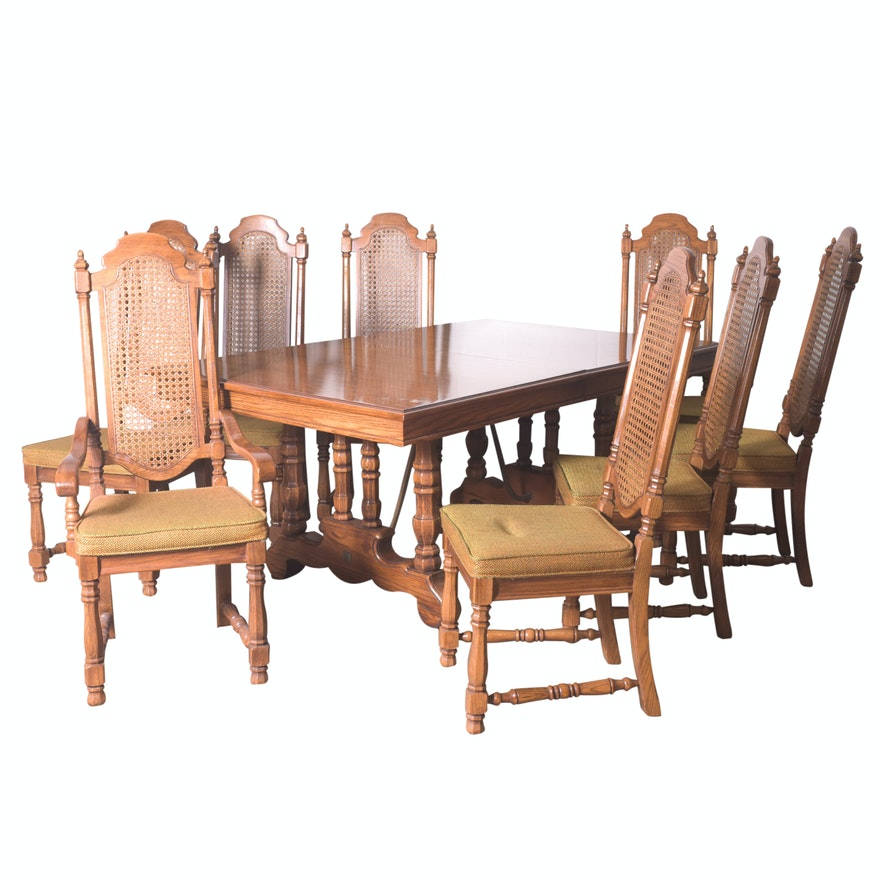MidCentury Oak Dining Table With Cane Back Chairs By Thomasville EBTH - Mid century oak dining table