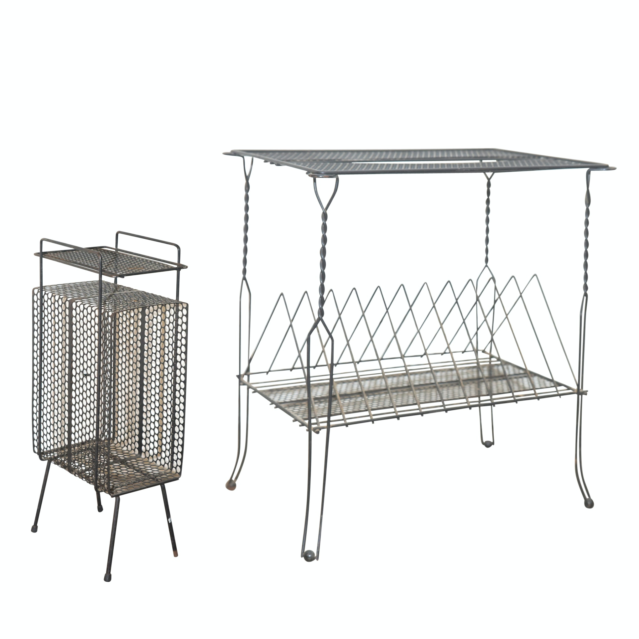 Mid-Century Wire and Mesh Record Stands