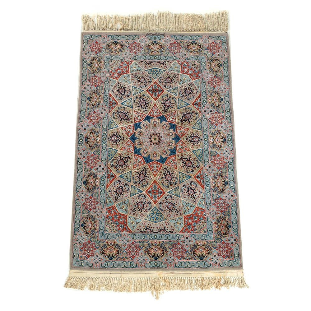 Finely Hand-Knotted Persian Isfahan Wool and Silk Accent Rug