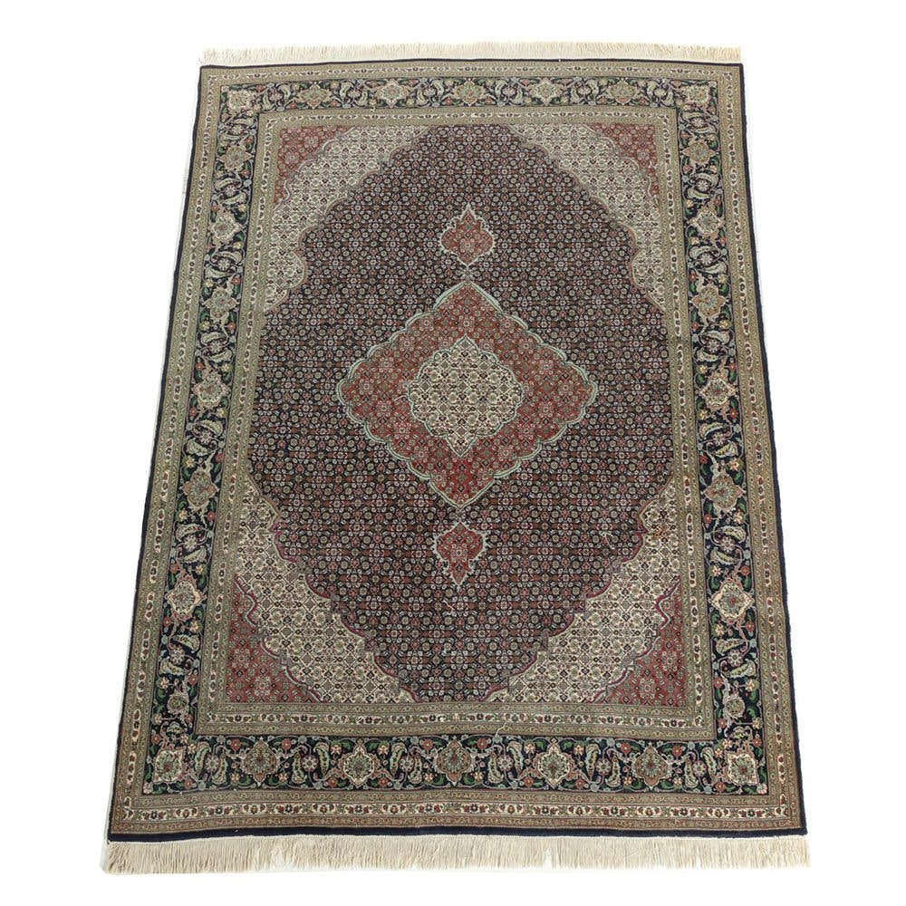 Hand-Knotted Persian Tabriz Mahi Wool and Silk Area Rug