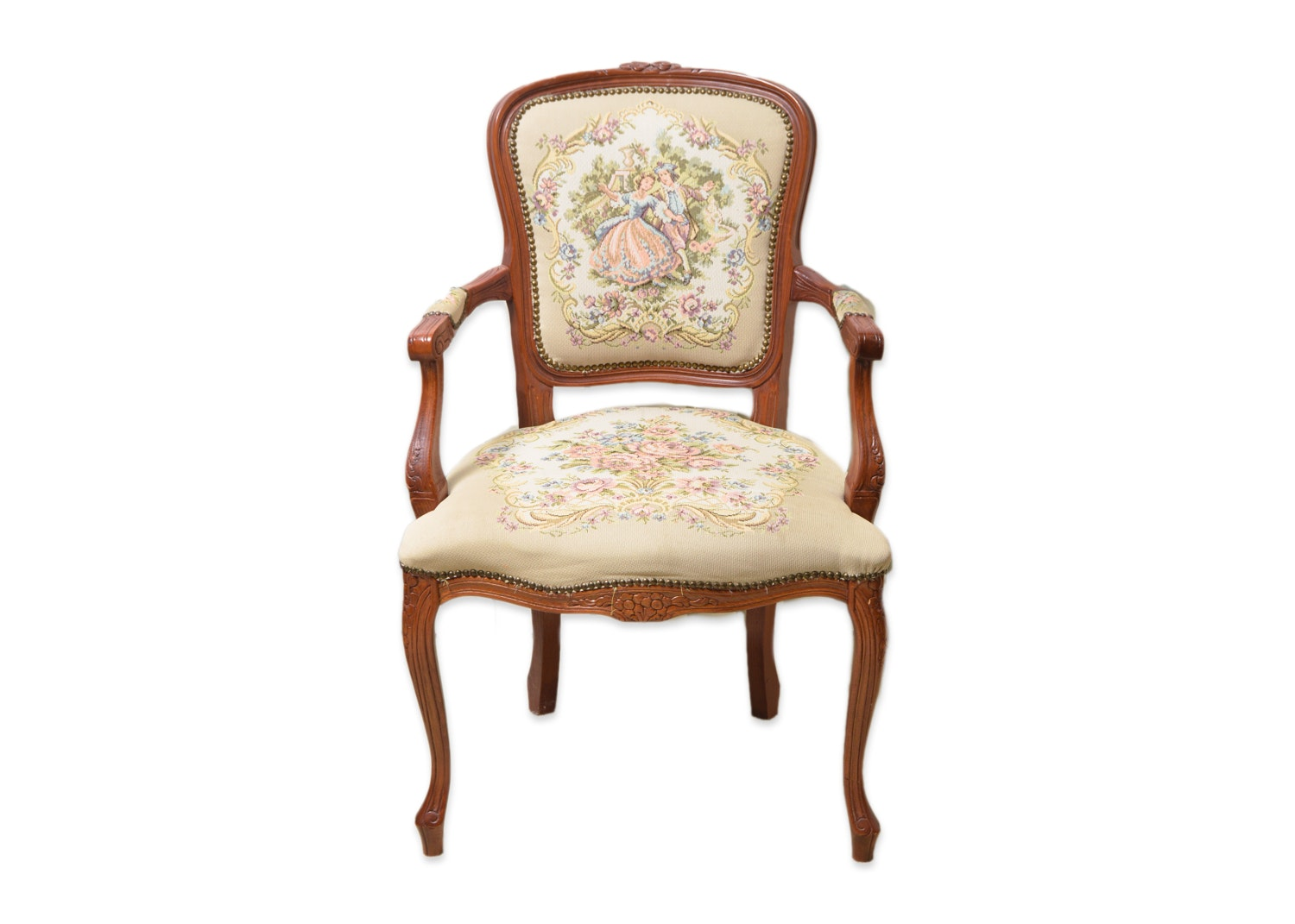 Vintage Victorian Style Walnut Armchair with Needlepoint Upholstery