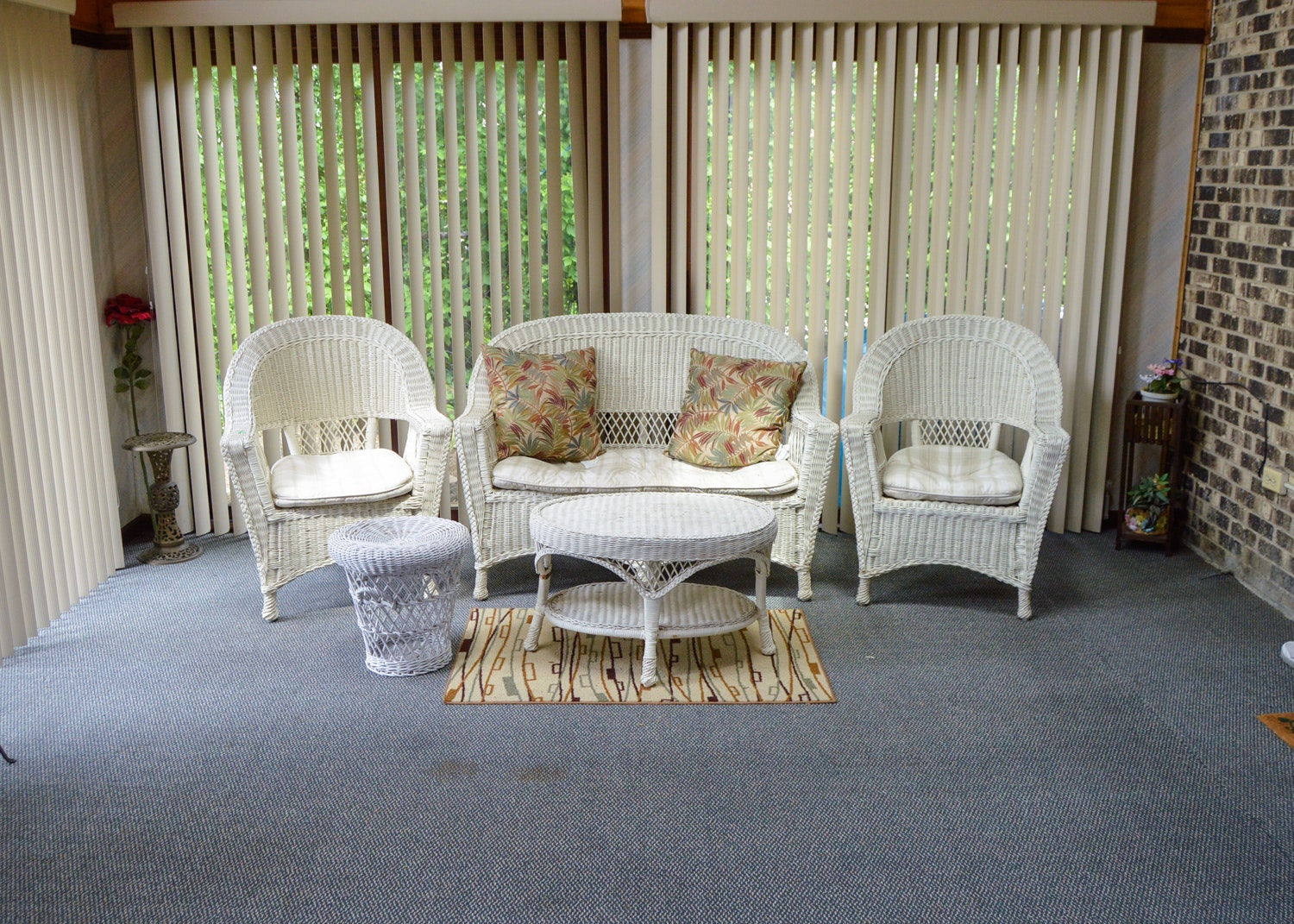 Vintage Reed Woven Patio Furniture Set