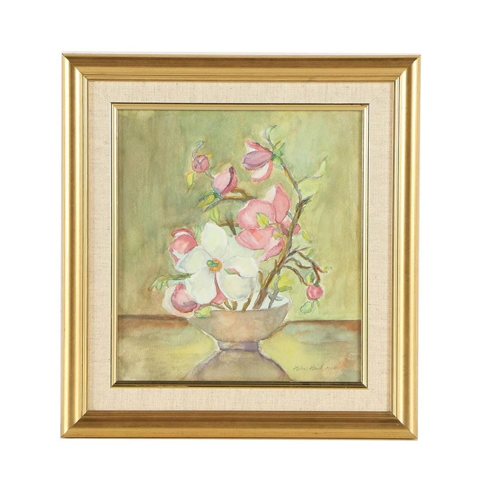 Helen Hinet Watercolor Painting of a Magnolia Flowers
