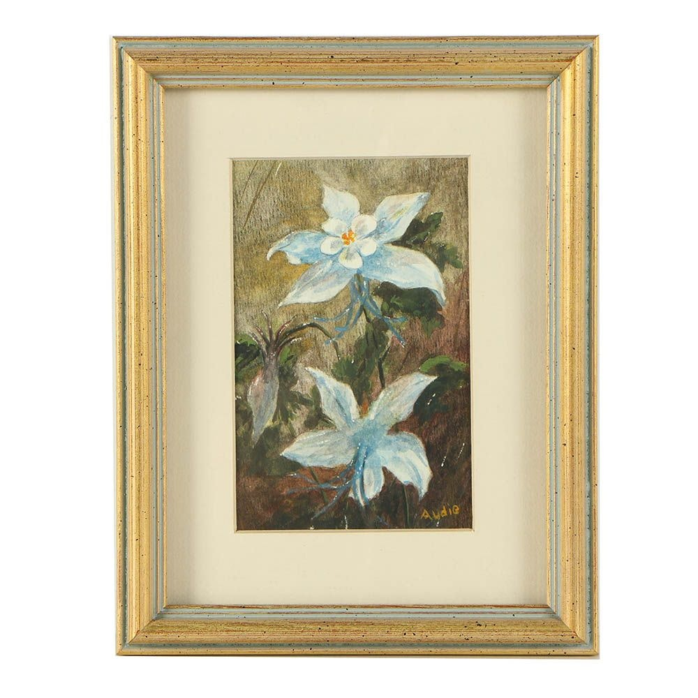 """Audie Mullings Watercolor Painting """"Columbine"""""""
