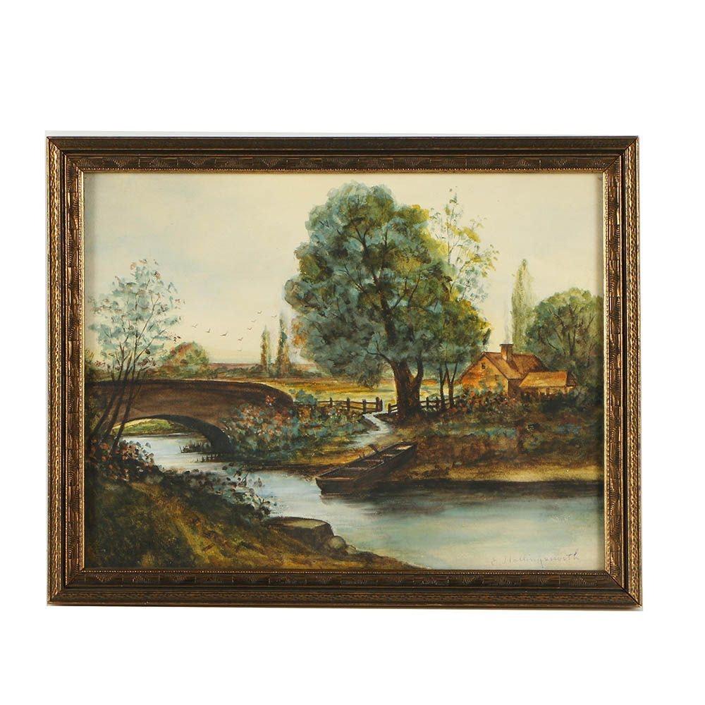 E. Hollingsworth Watercolor Landscape Painting
