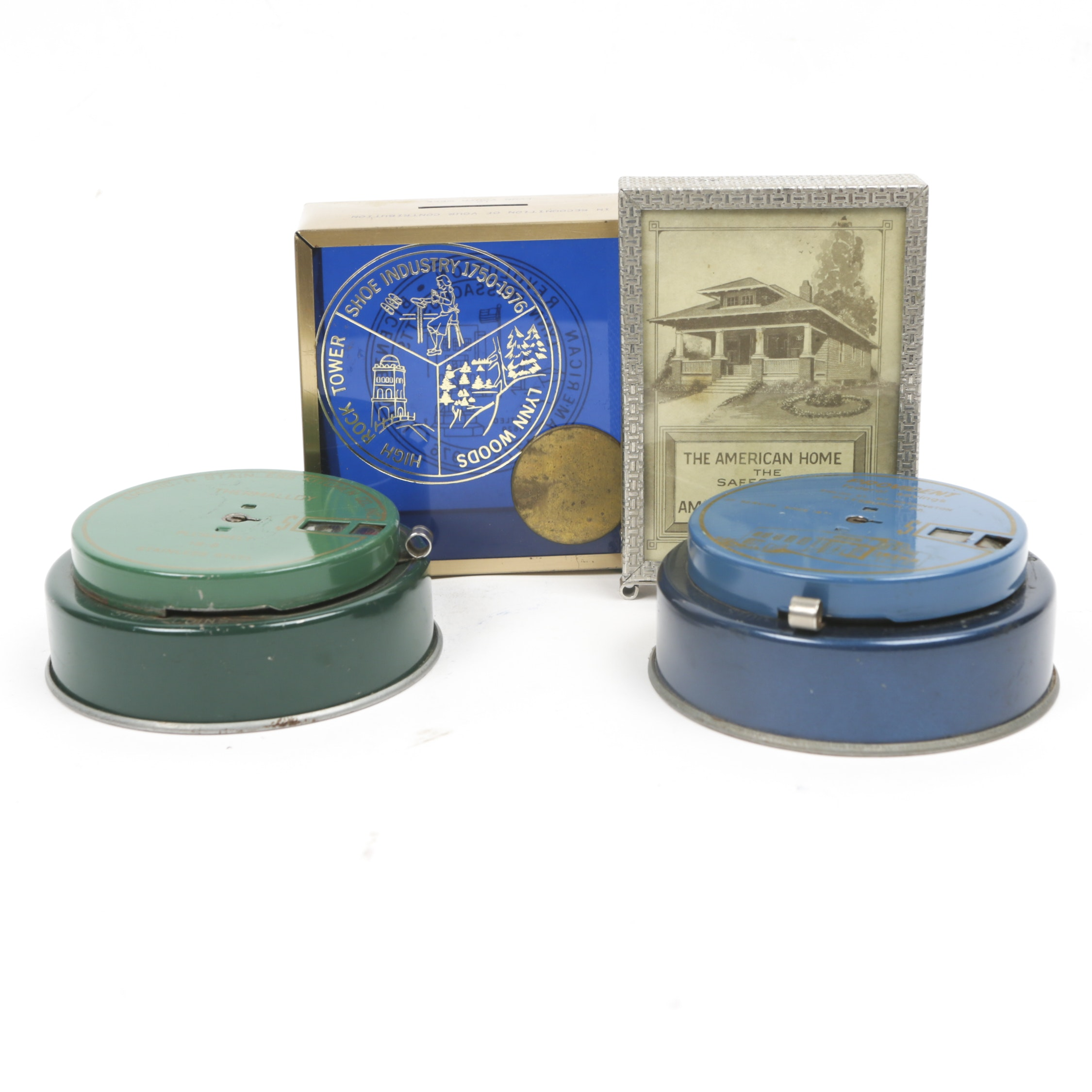 Vintage Metal and Glass Advertising Coin Banks