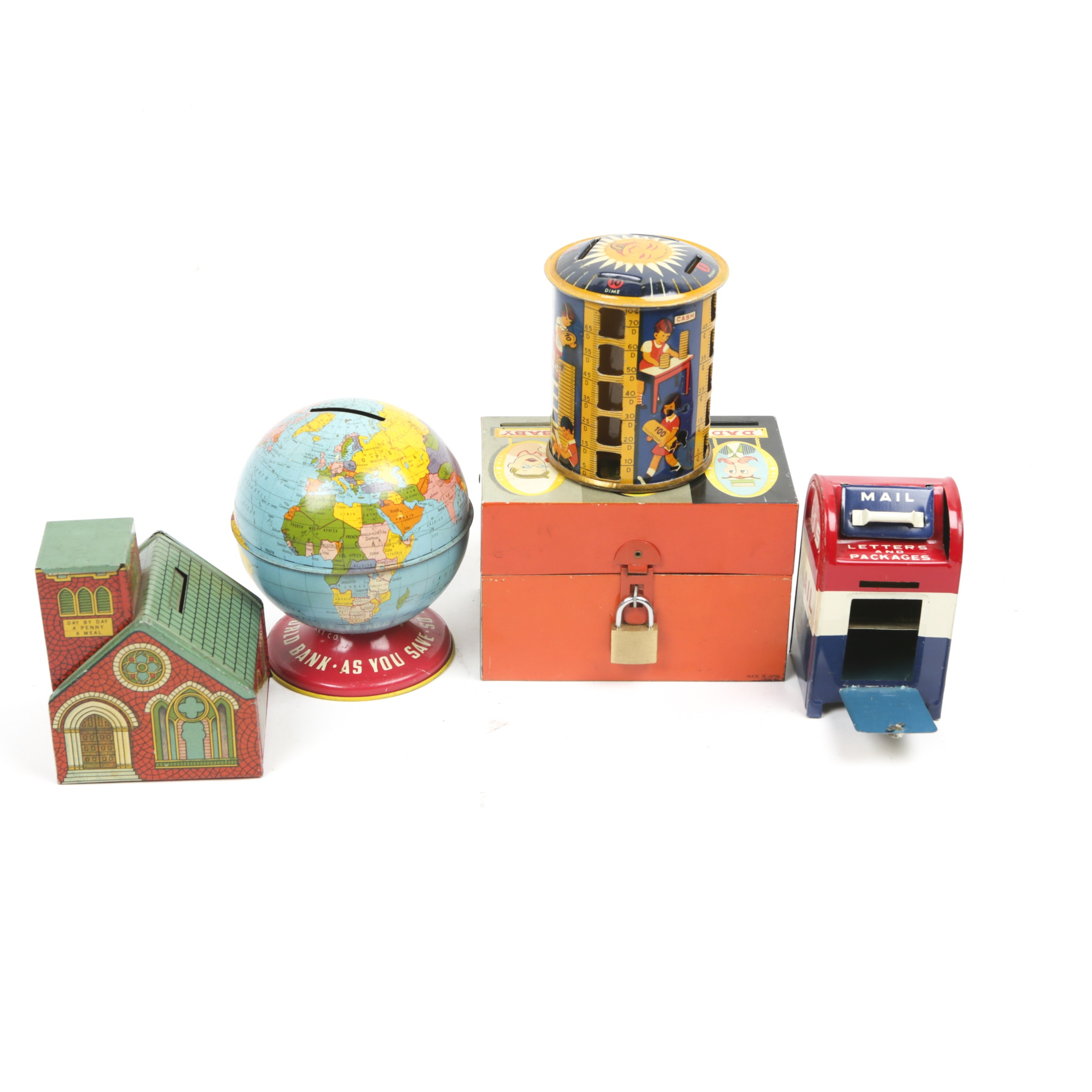 Vintage Tin Lithograph Novelty Coin Banks