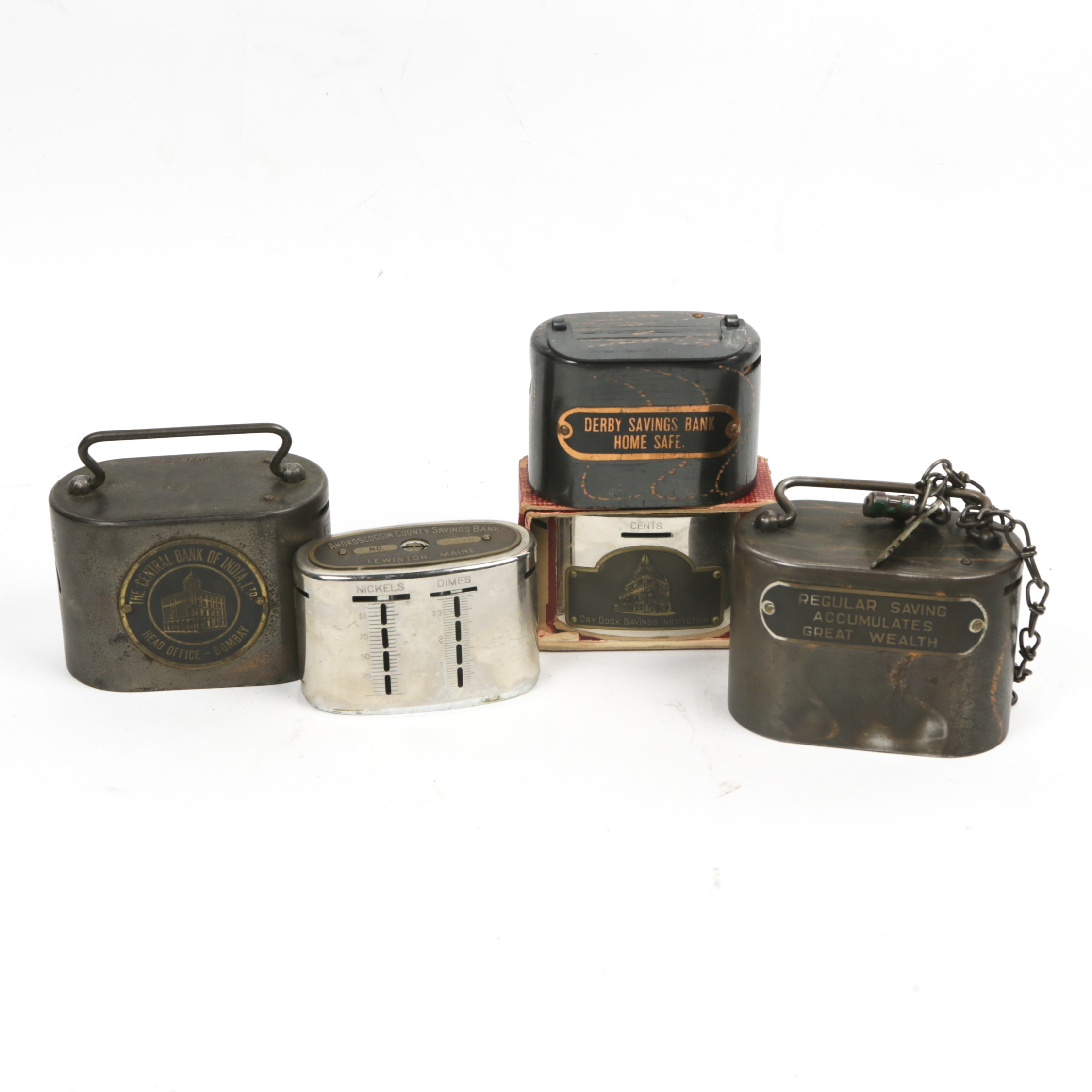 Vintage Metal Advertising Coin Banks, Including The Central Bank of India, Ltd.