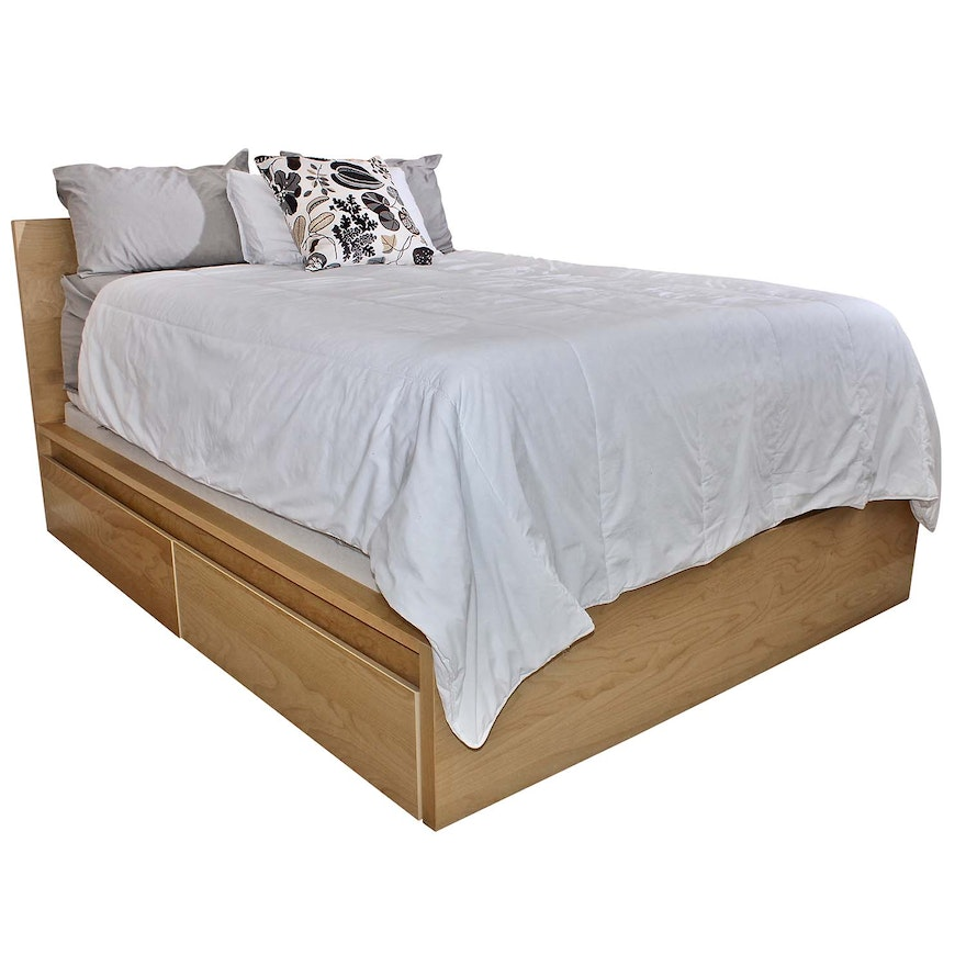 Ikea Queen Bed Frame With Four Storage Drawers Ebth