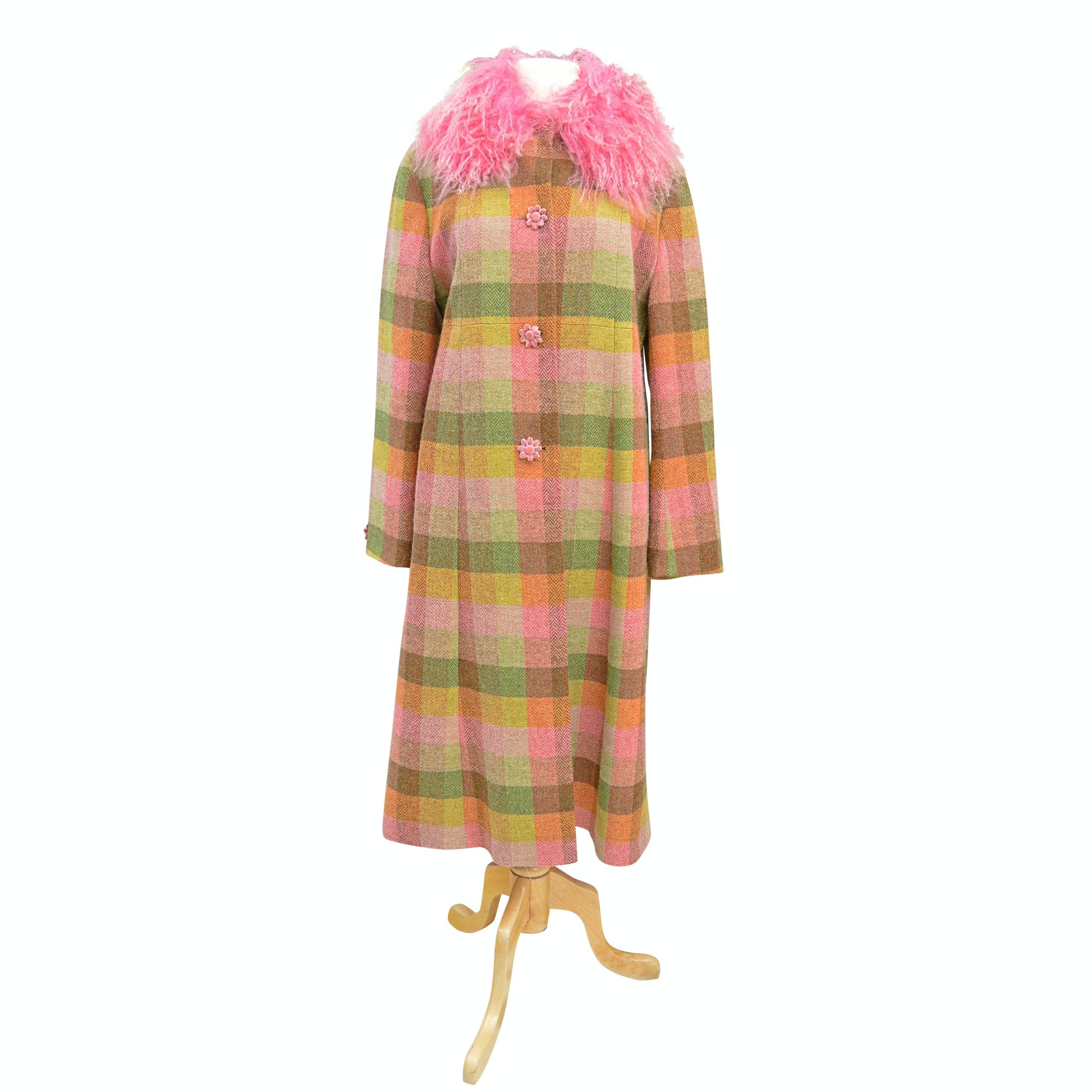 "Women's Irish Avoca ""Anthology"" Wool Coat with Pink Dyed Mongolian Lamb Collar"