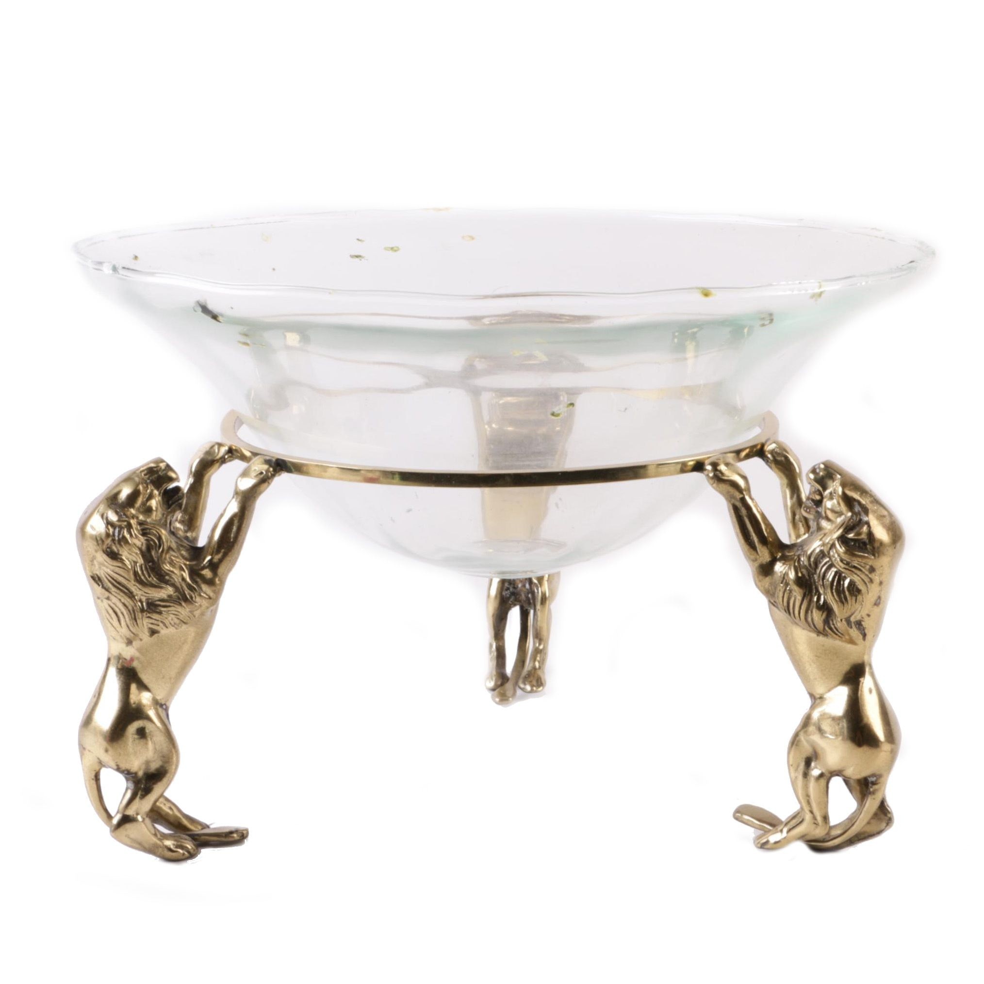 Hand-Blown Glass Bowl with Brass Lion Figural Base