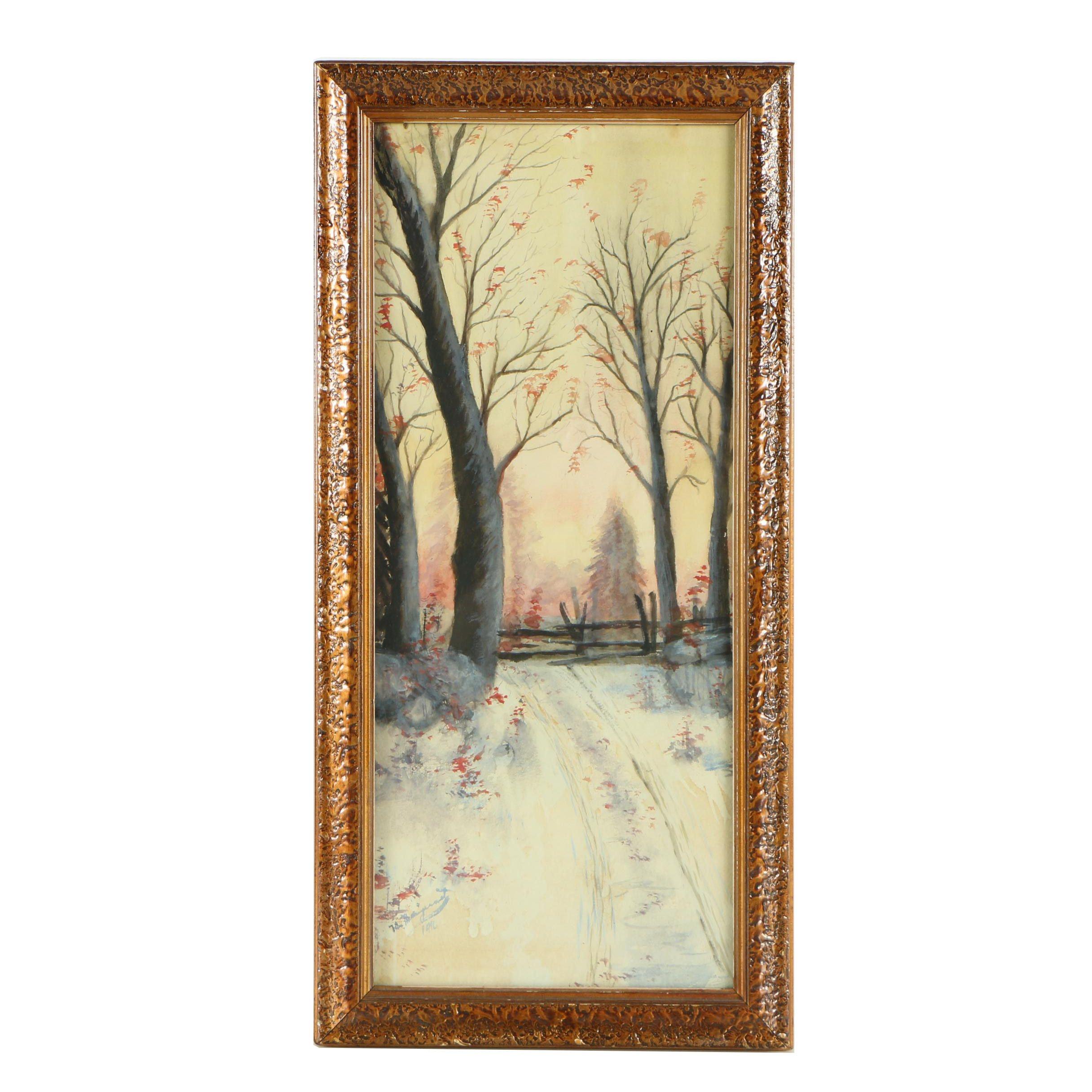 1916 Landscape Watercolor Painting