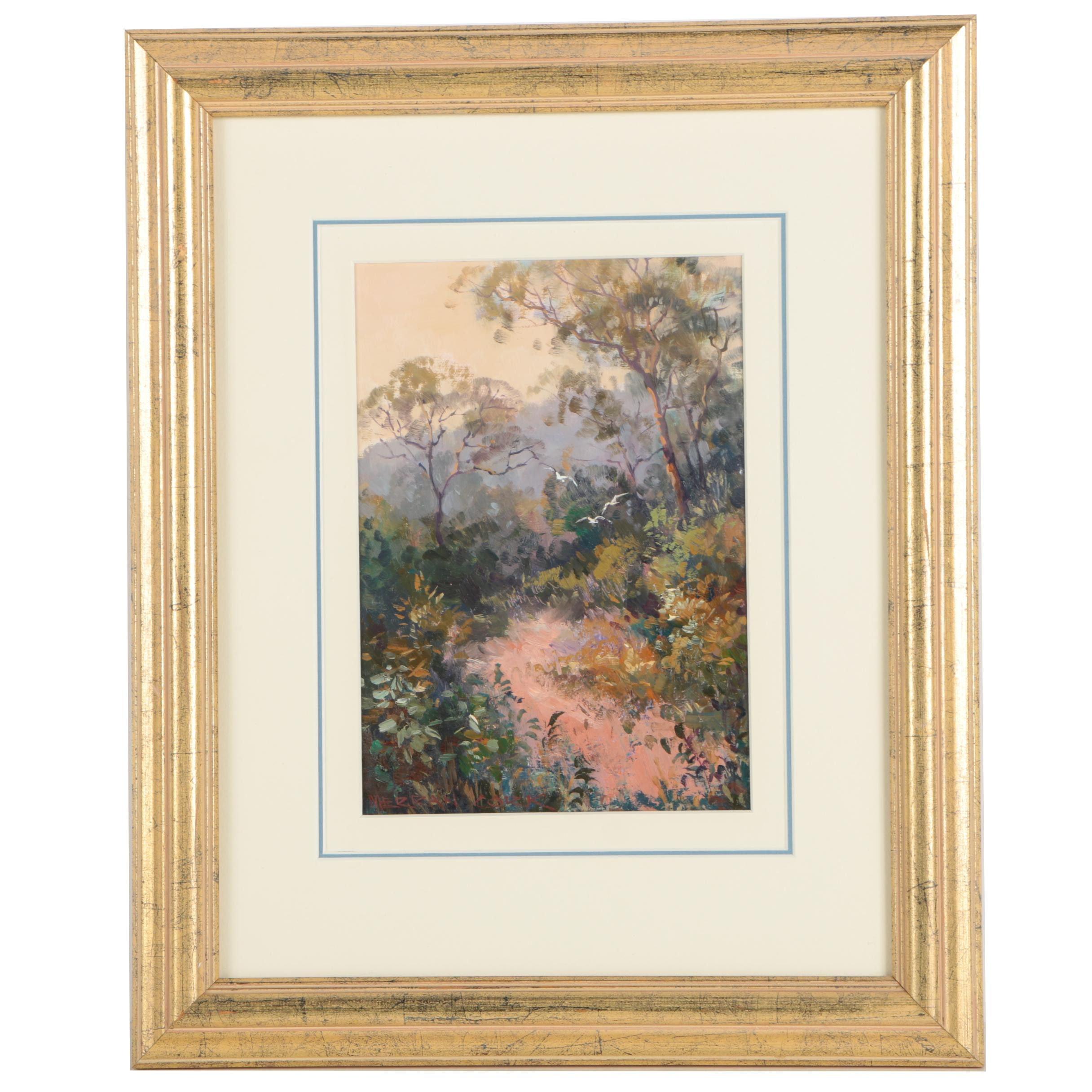 "Merran Cork Oil Painting ""Bush Track At Dusk"""