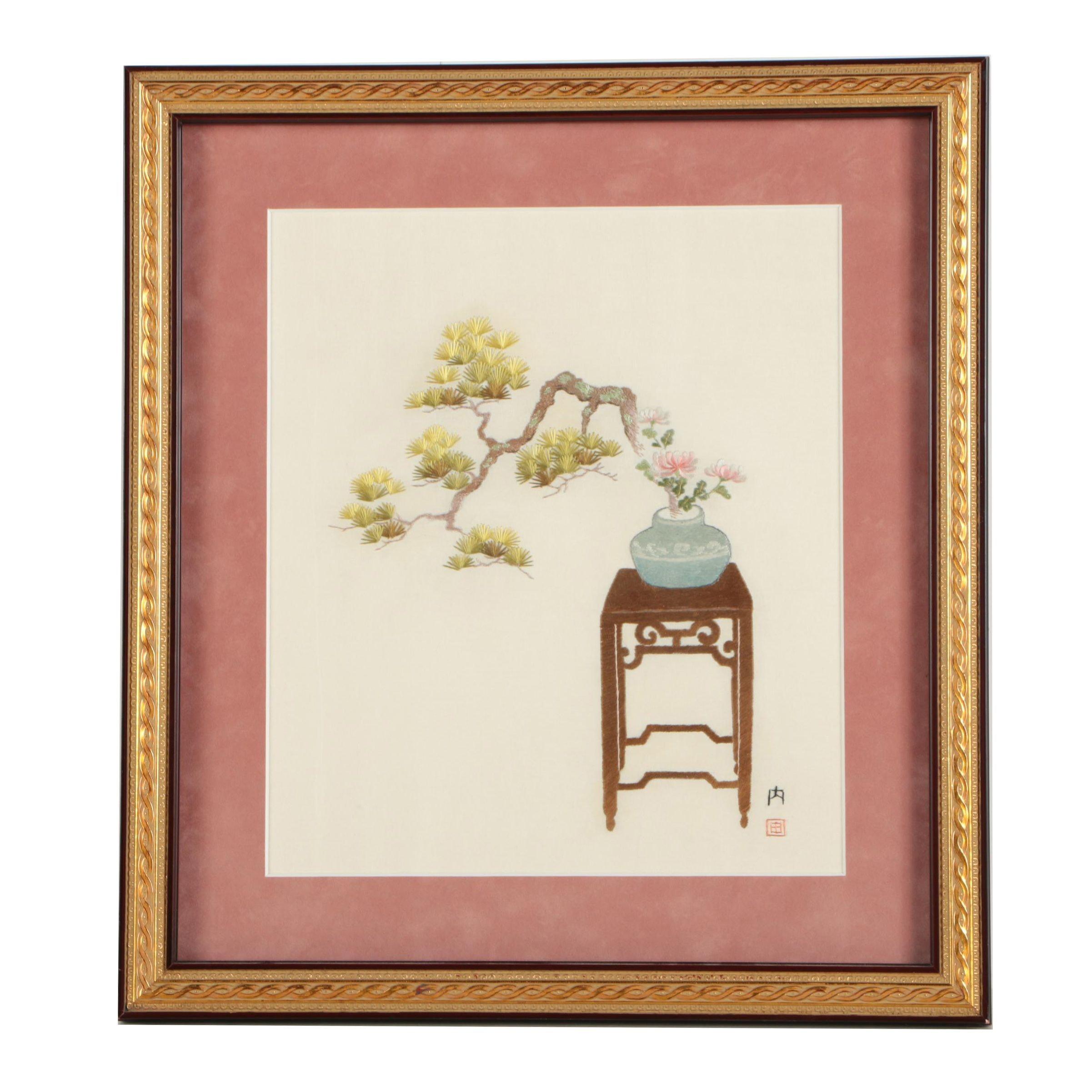 Japanese Silk Embroidery Of A Bonsai Tree Ebth