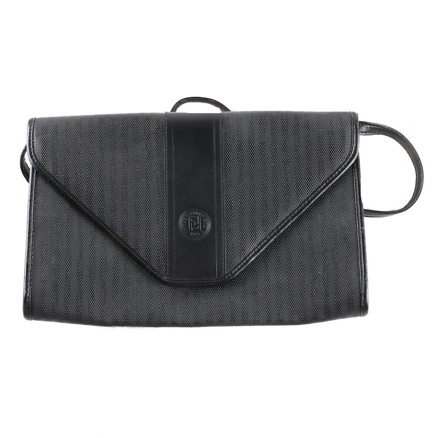 445bf2cdbf73 Vintage Fendi Pequin Striped Convertible Envelope Clutch   EBTH