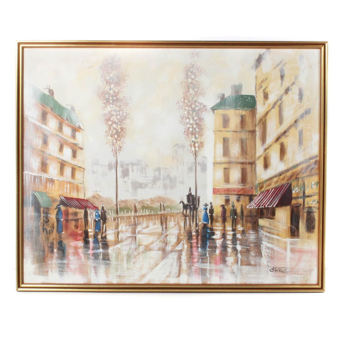 Ferramie Oil on Canvas Street Scene Painting