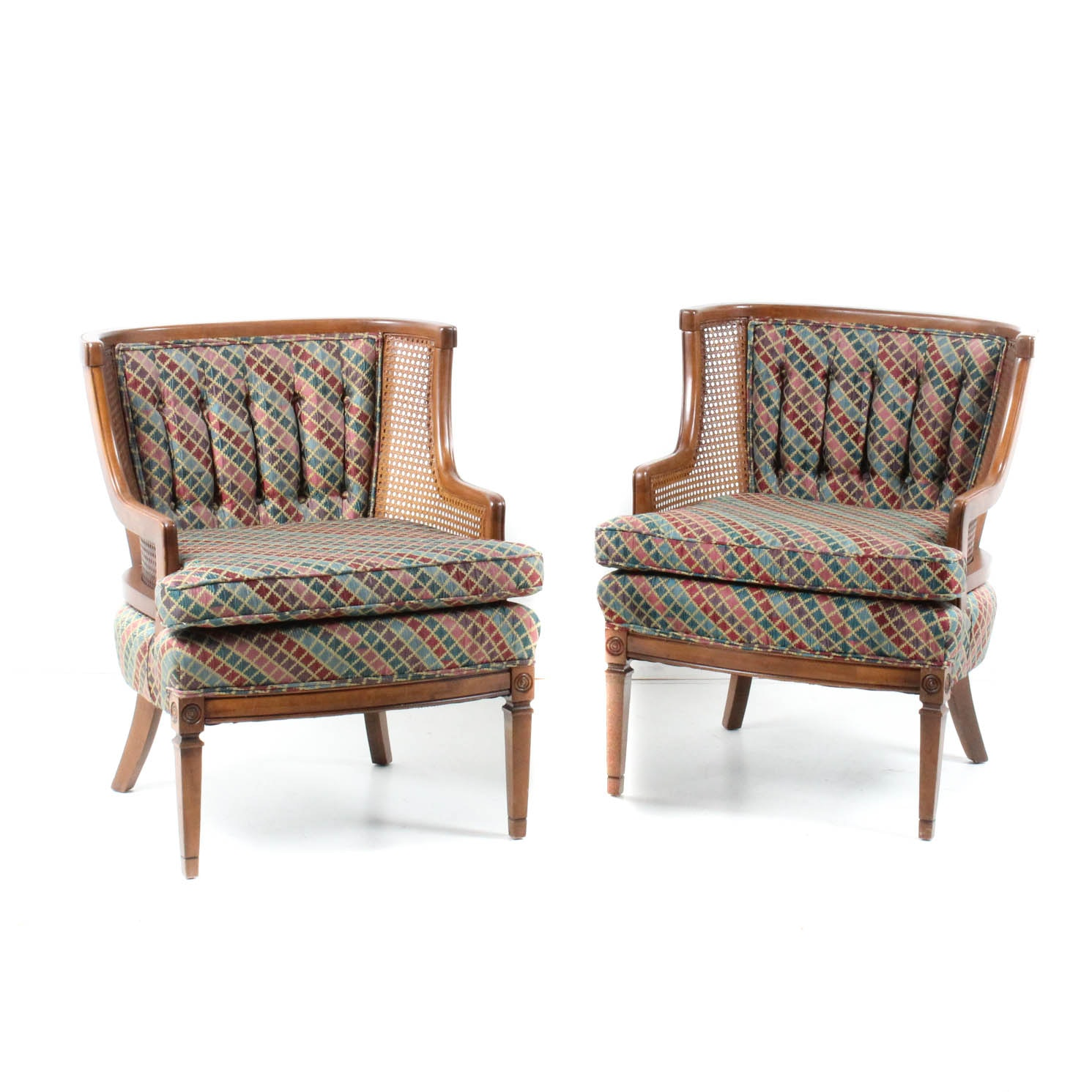 Wood Frame Armchairs with Caned Details