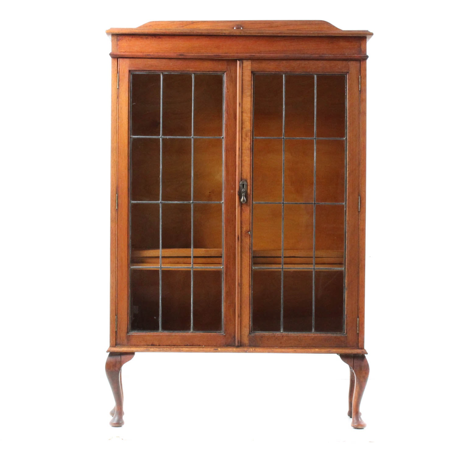 Antique Wooden Display Cabinet with Leaded Glass Doors