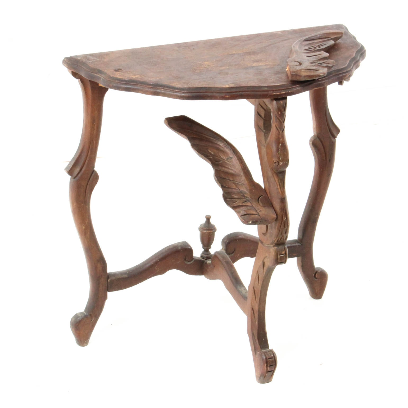 Antique Hand Carved Wooden Accent Table, Probably Venetian