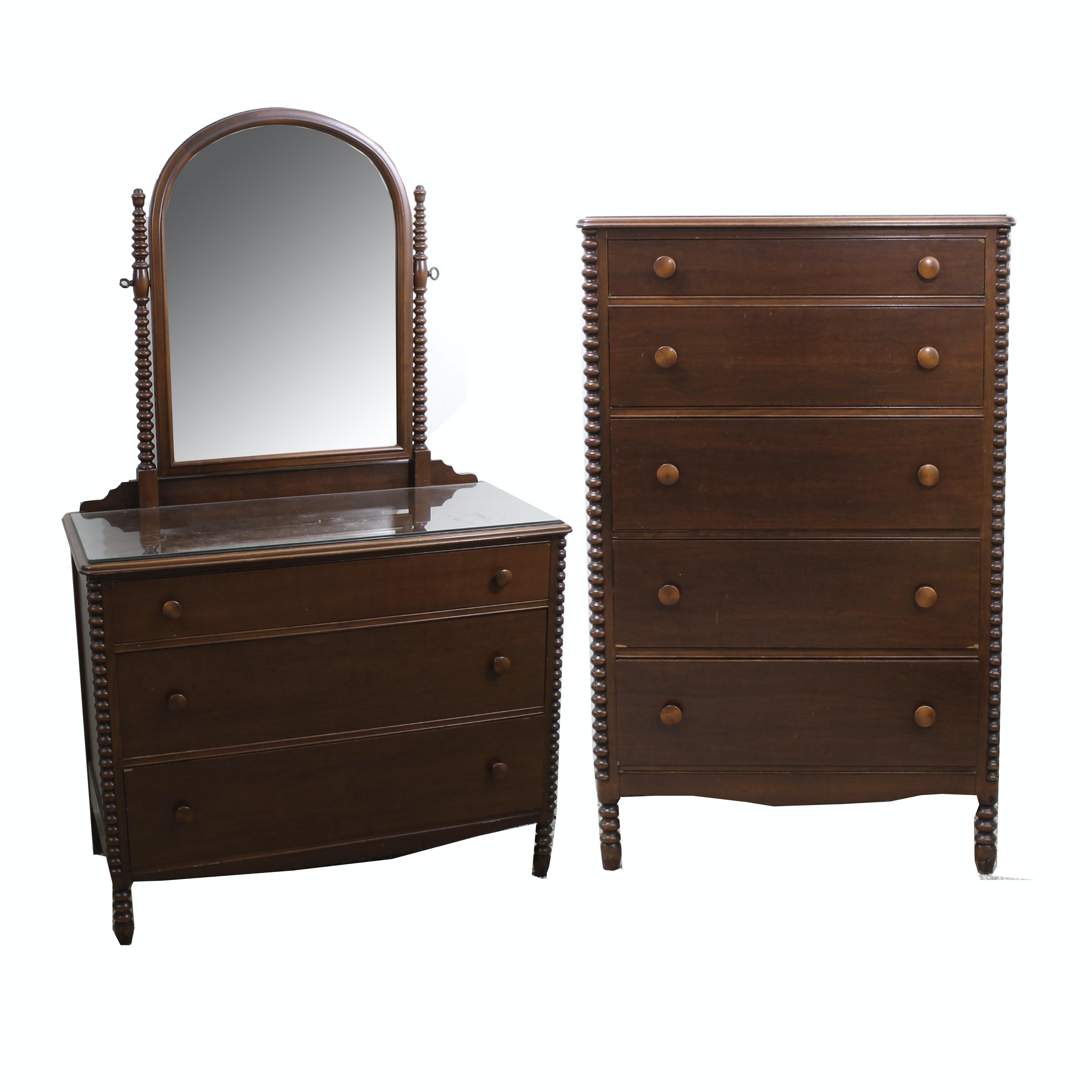 Vintage Wheeler-Okell Co. Cherry Veneer Chest and Dresser with Mirror