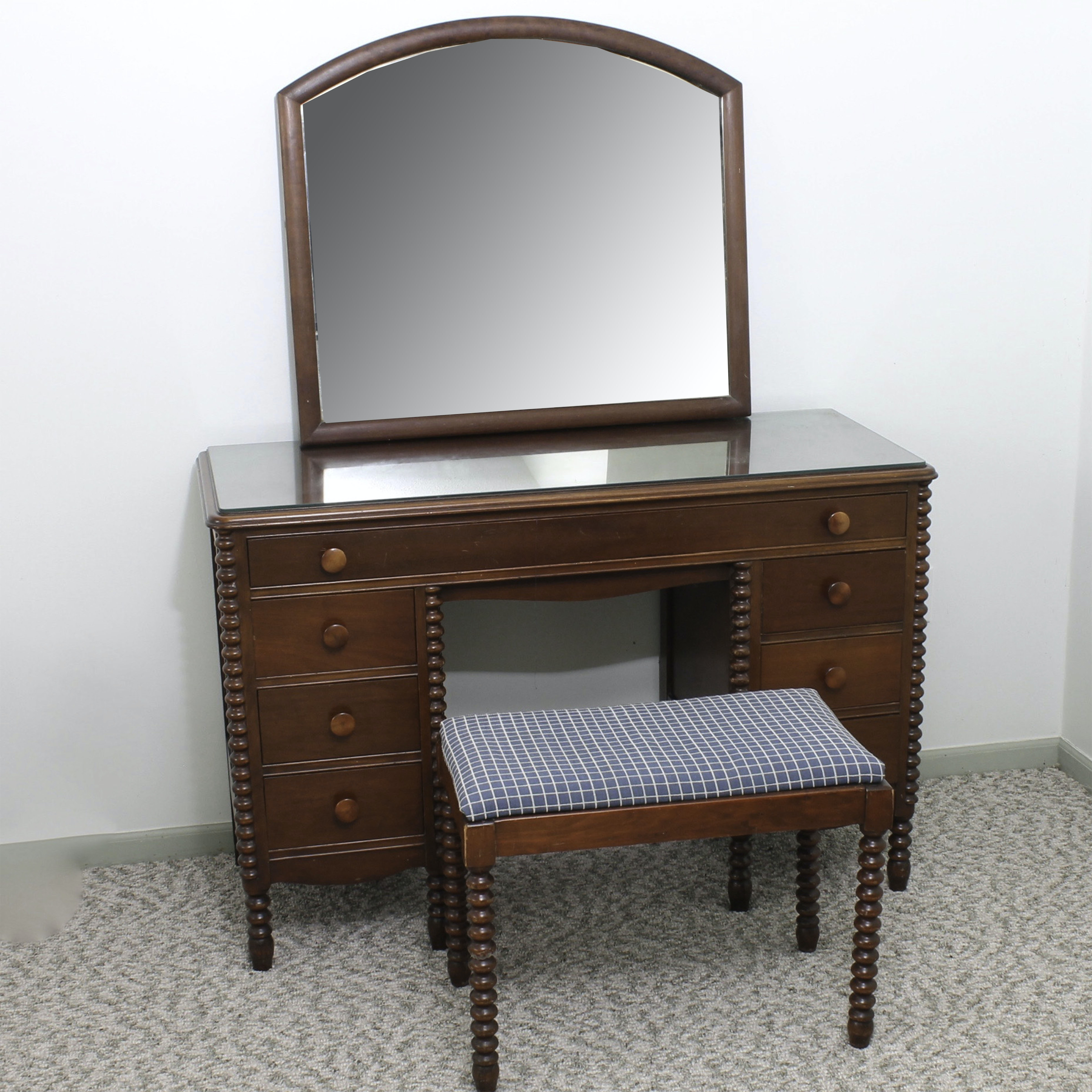 Vintage Wheeler-Okell Co. Cherry Veneer Vanity with Mirror and Bench