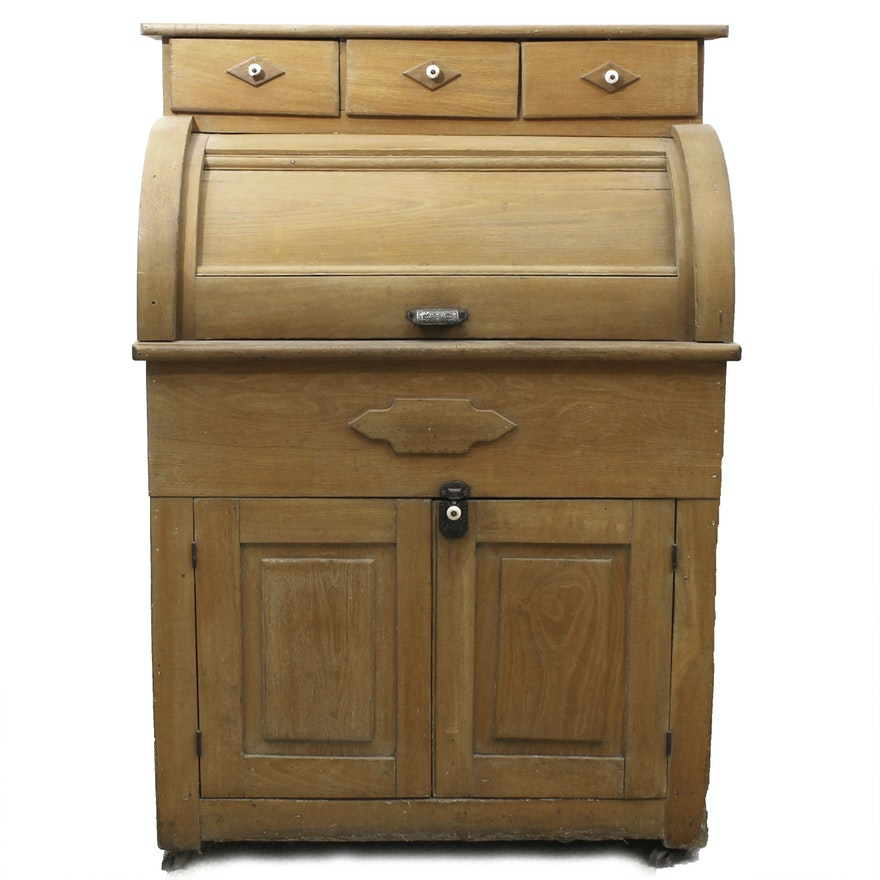 Antique Ash Cylinder Top Bread Cabinet ... - Antique Ash Cylinder Top Bread Cabinet : EBTH