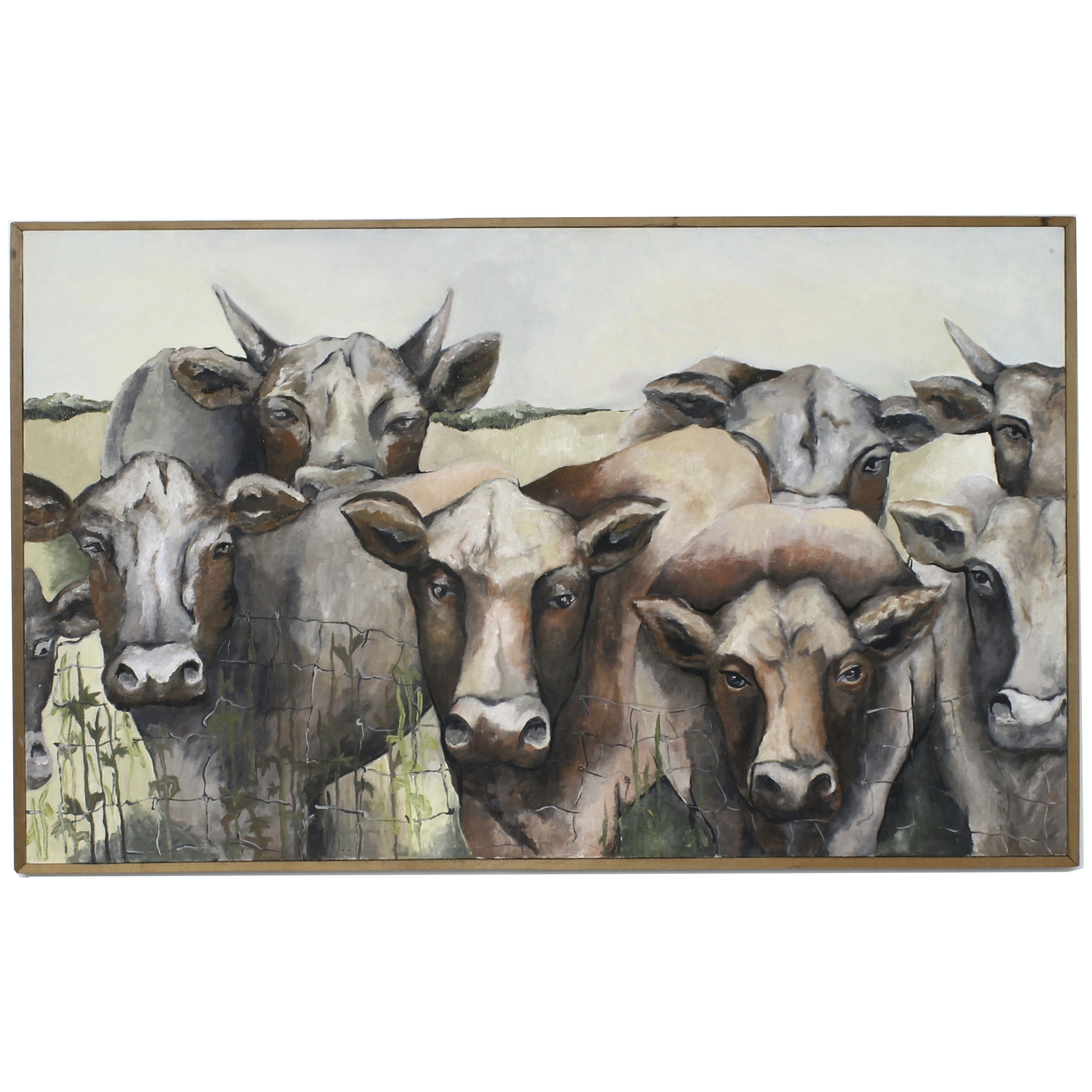 OIl on Canvas Painting of Cows