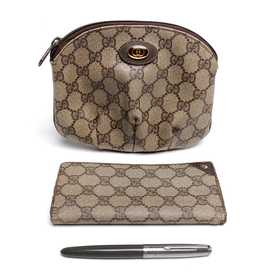 d446b55ab252 Gucci Accessory Collection Pochette and Card Case and Parker Fountain Pen  ...