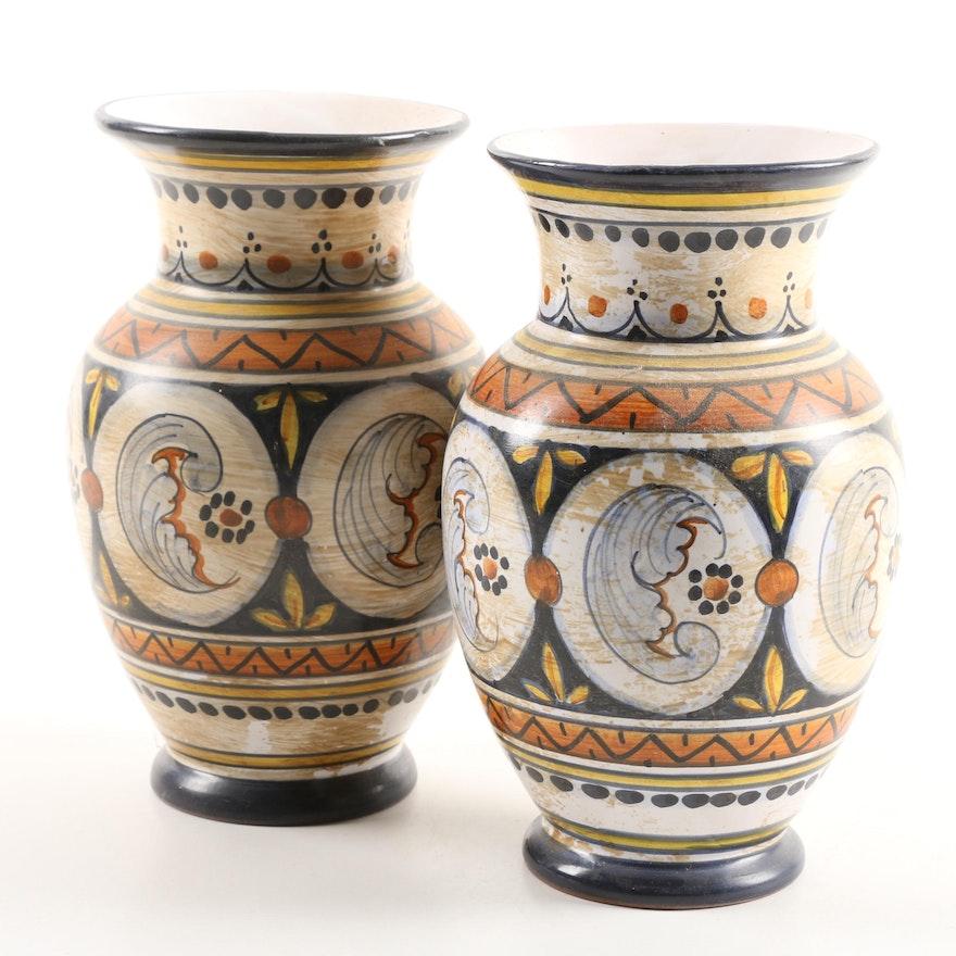 Hand Painted Italian Earthenware Vases Ebth