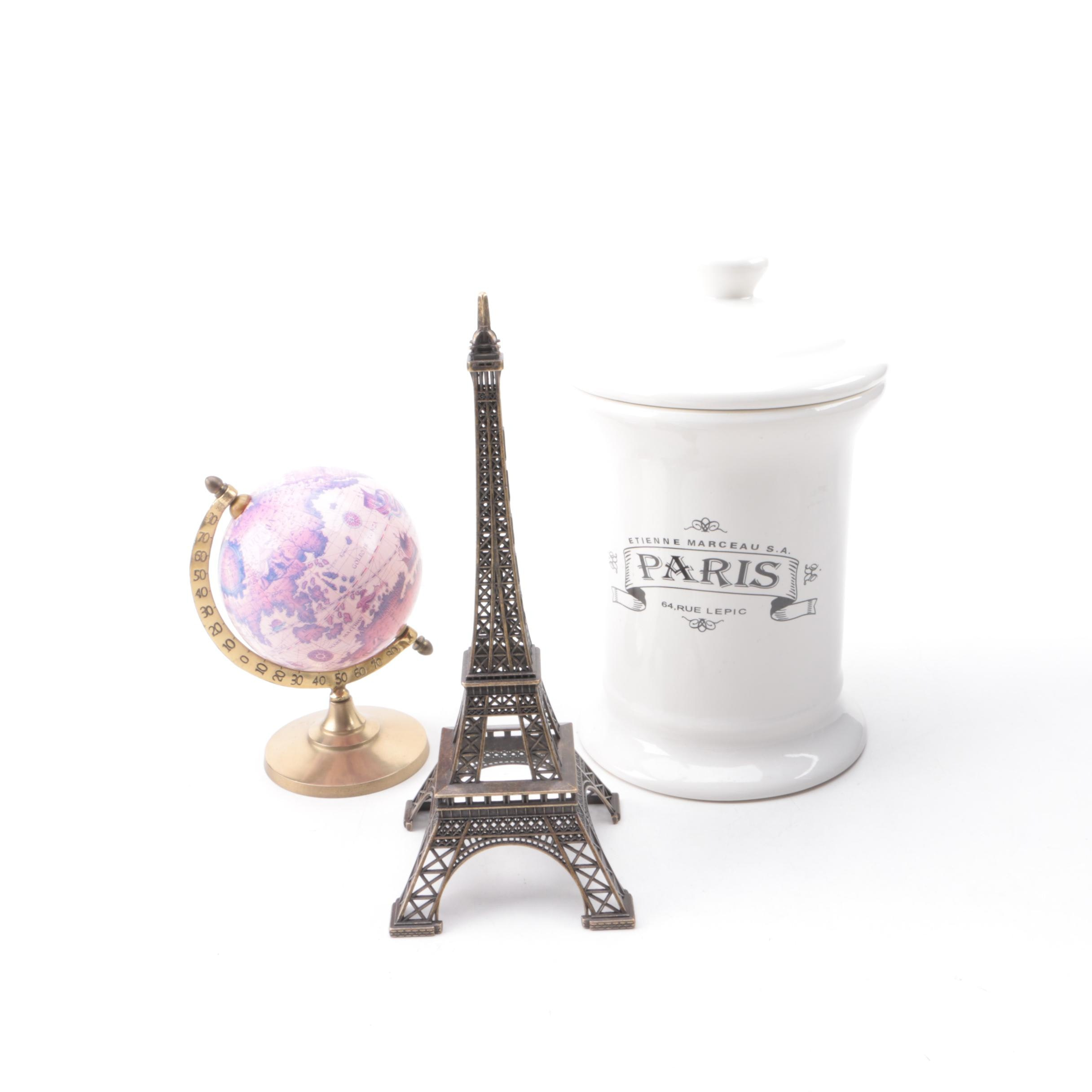 Paris Themed Decor and Miniature Globe