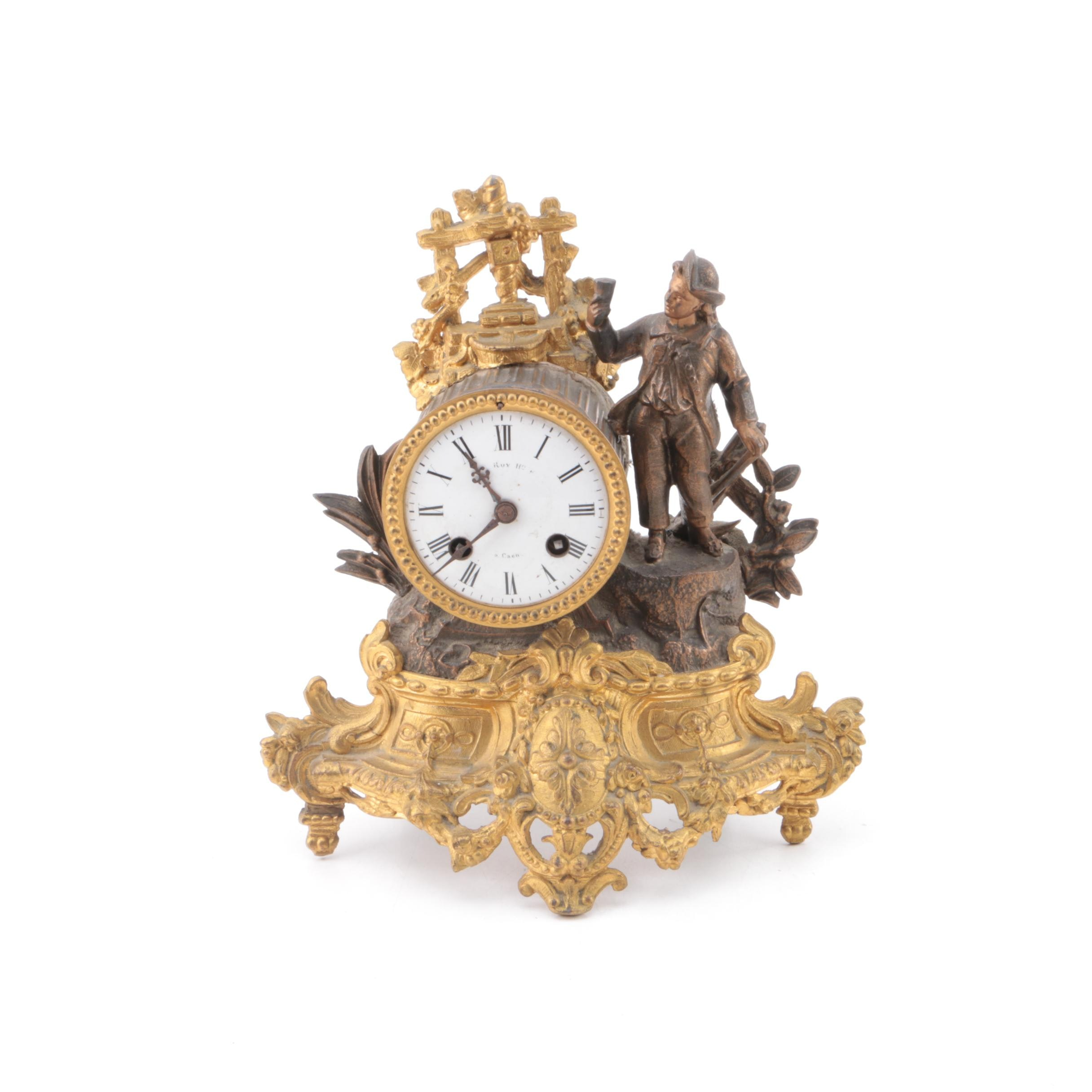 "Antique French ""Roy a Caen"" Spelter Mantel Clock"