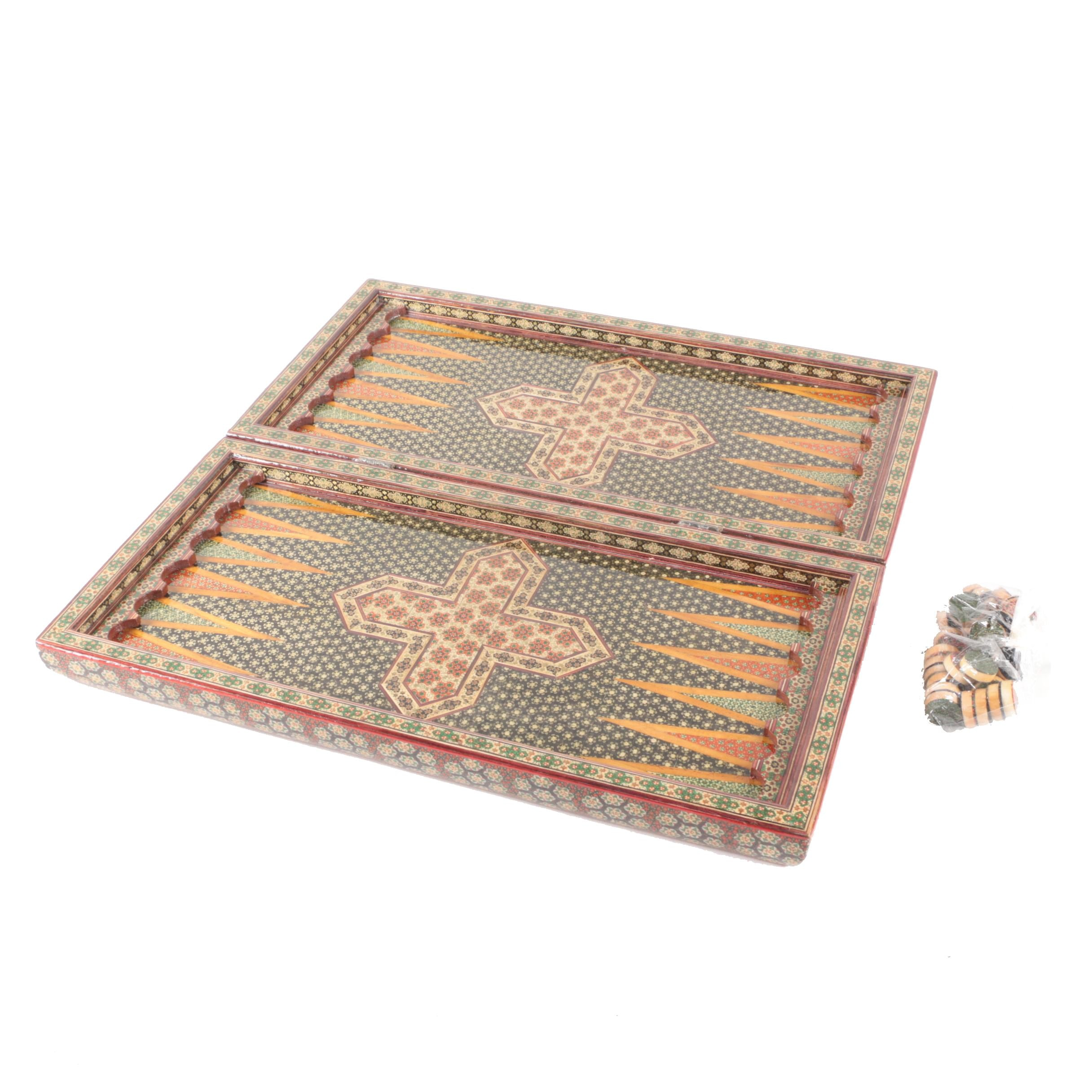 Inlaid Moroccan Style Checkers and Backgammon Board