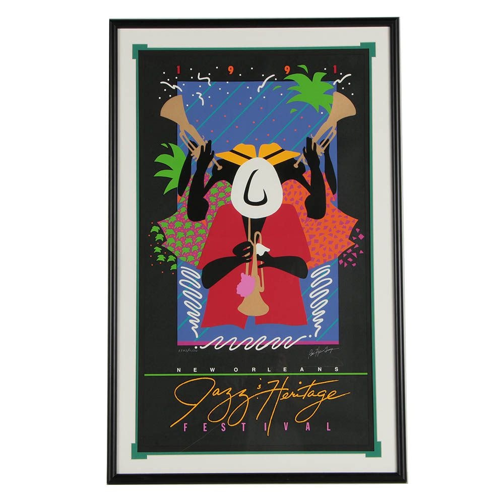 "Patti Harris Googe 1991 New Orleans ""Jazz & Heritage Festival"" Poster"