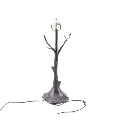 Sculptural Metal Tree Shaped Table Lamp