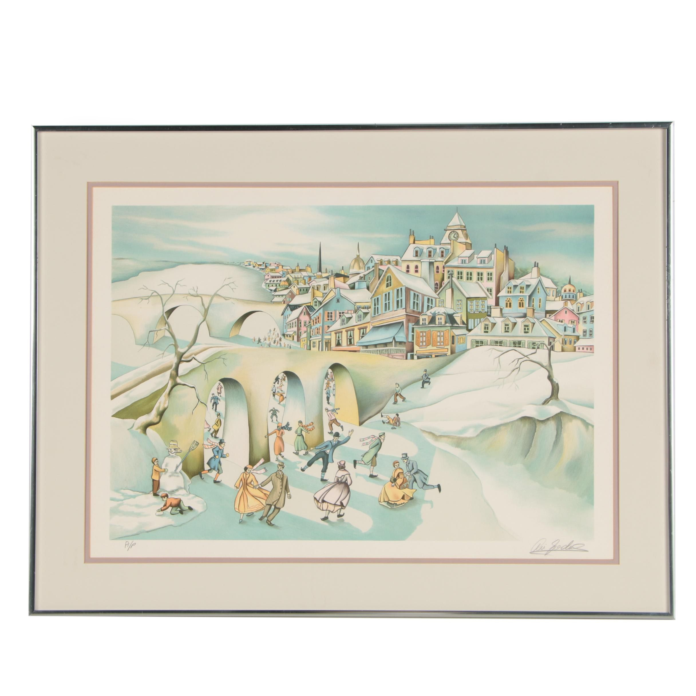 "Ari Gradus Artist Proof Color Lithograph ""Winter Fantasy"""