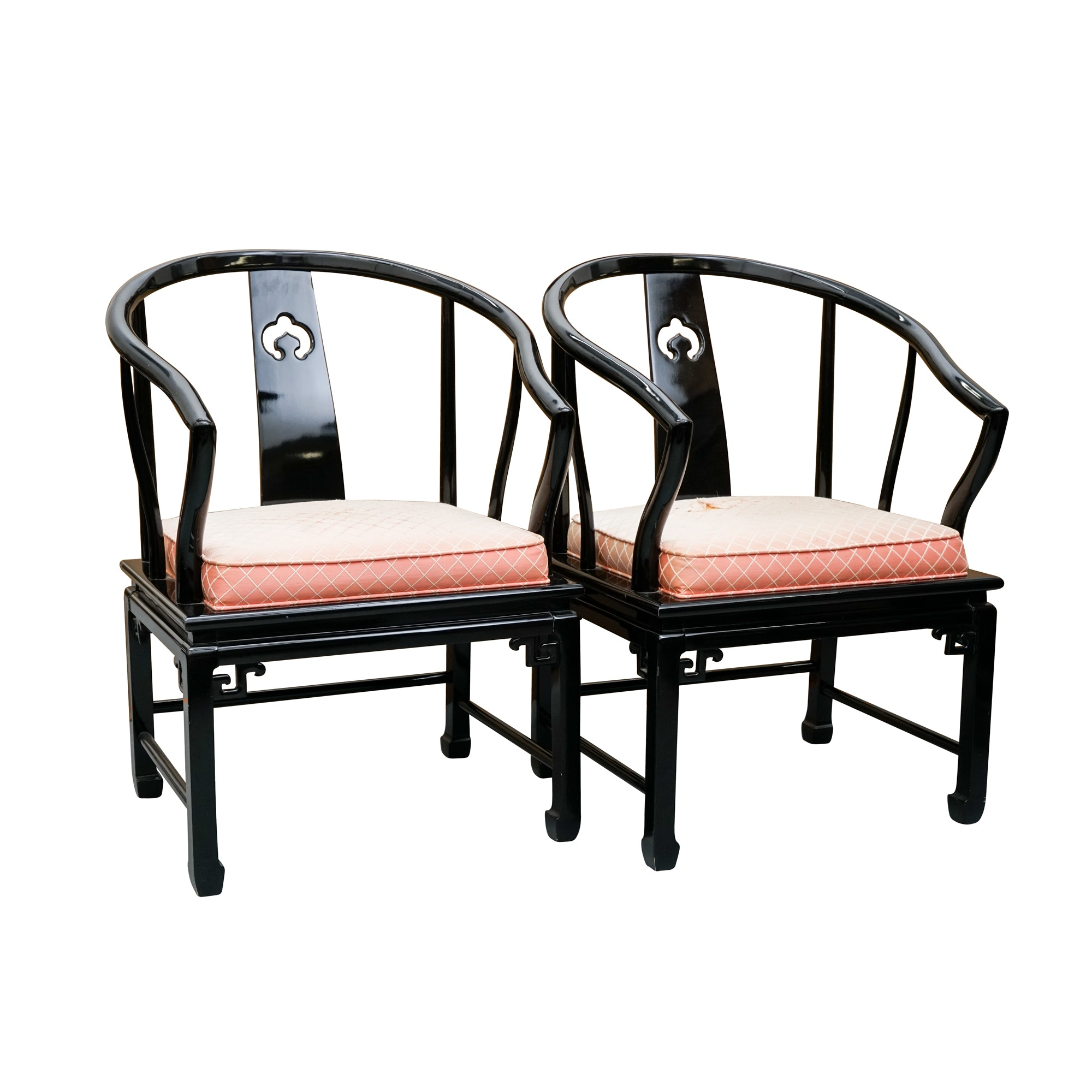 Chinese Style Black Lacquered Roundback Armchairs by Century Chair Company