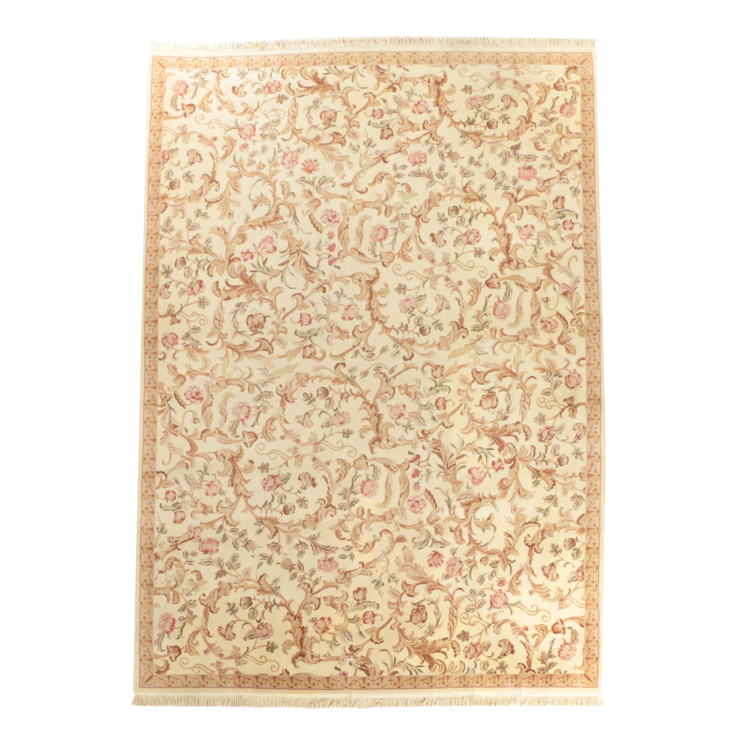 Hand-Knotted Chinese Wool and Silk Area Rug