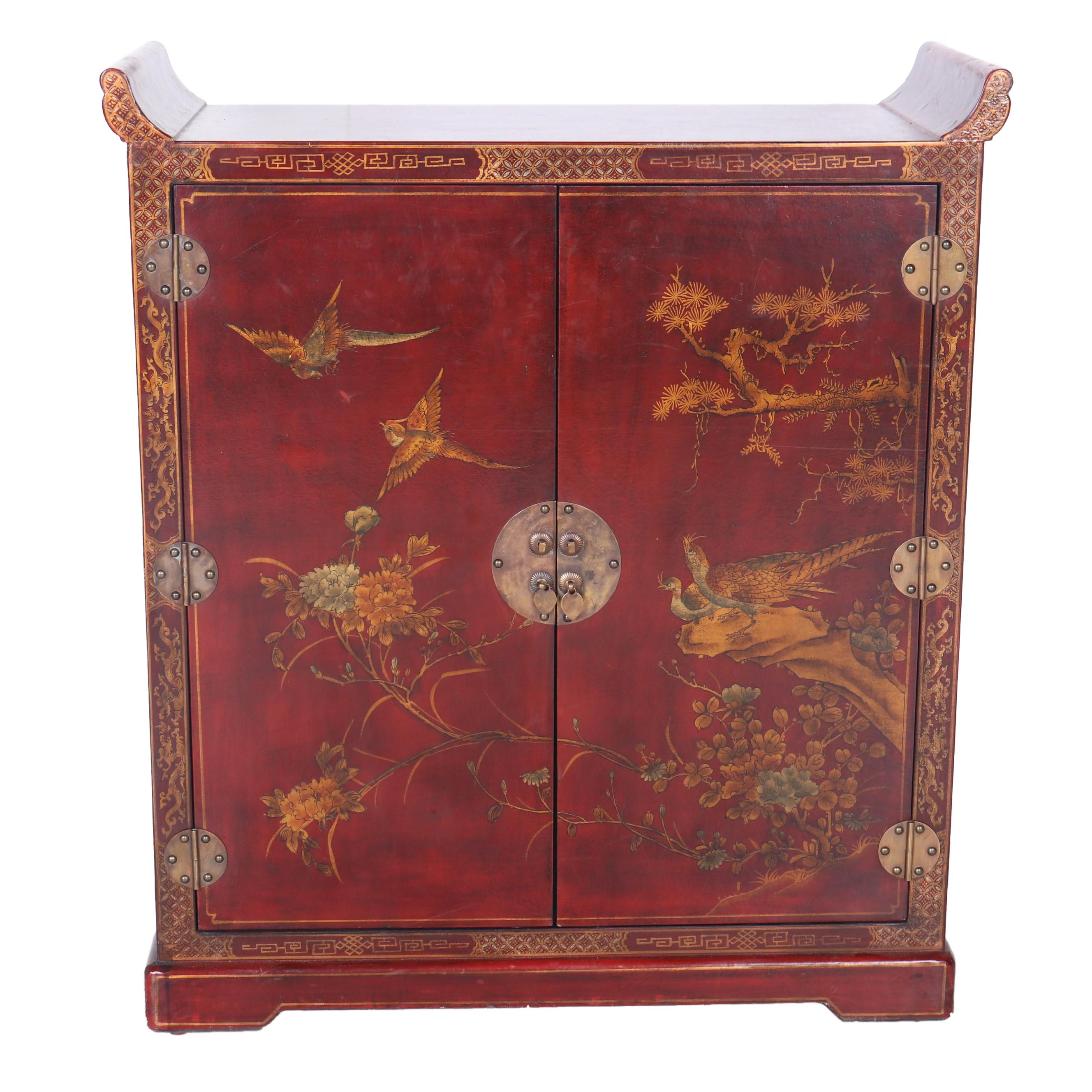 Vintage Chinese Painted Storage Cabinet
