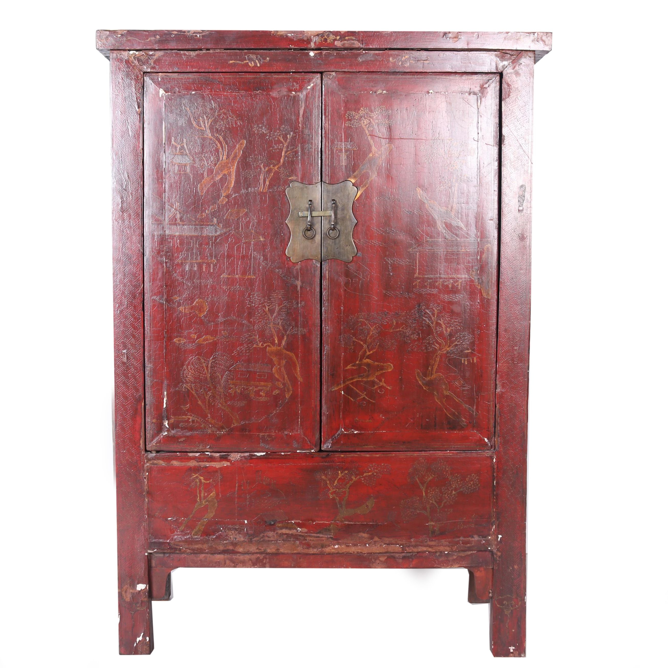 Vintage Chinese Painted Wedding Cabinet