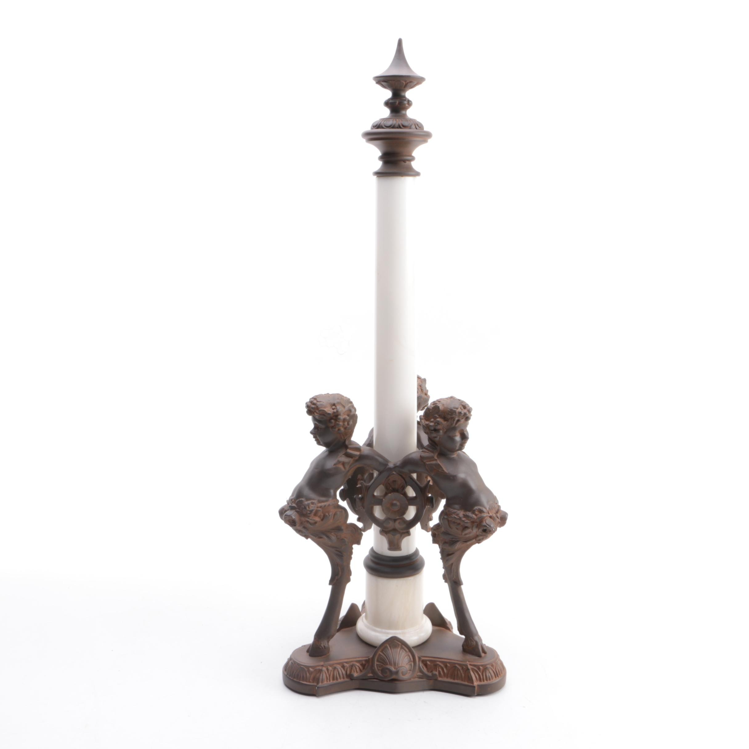 Decorative Empire Style Cast Metal and Alabaster Finial with Faun Accents