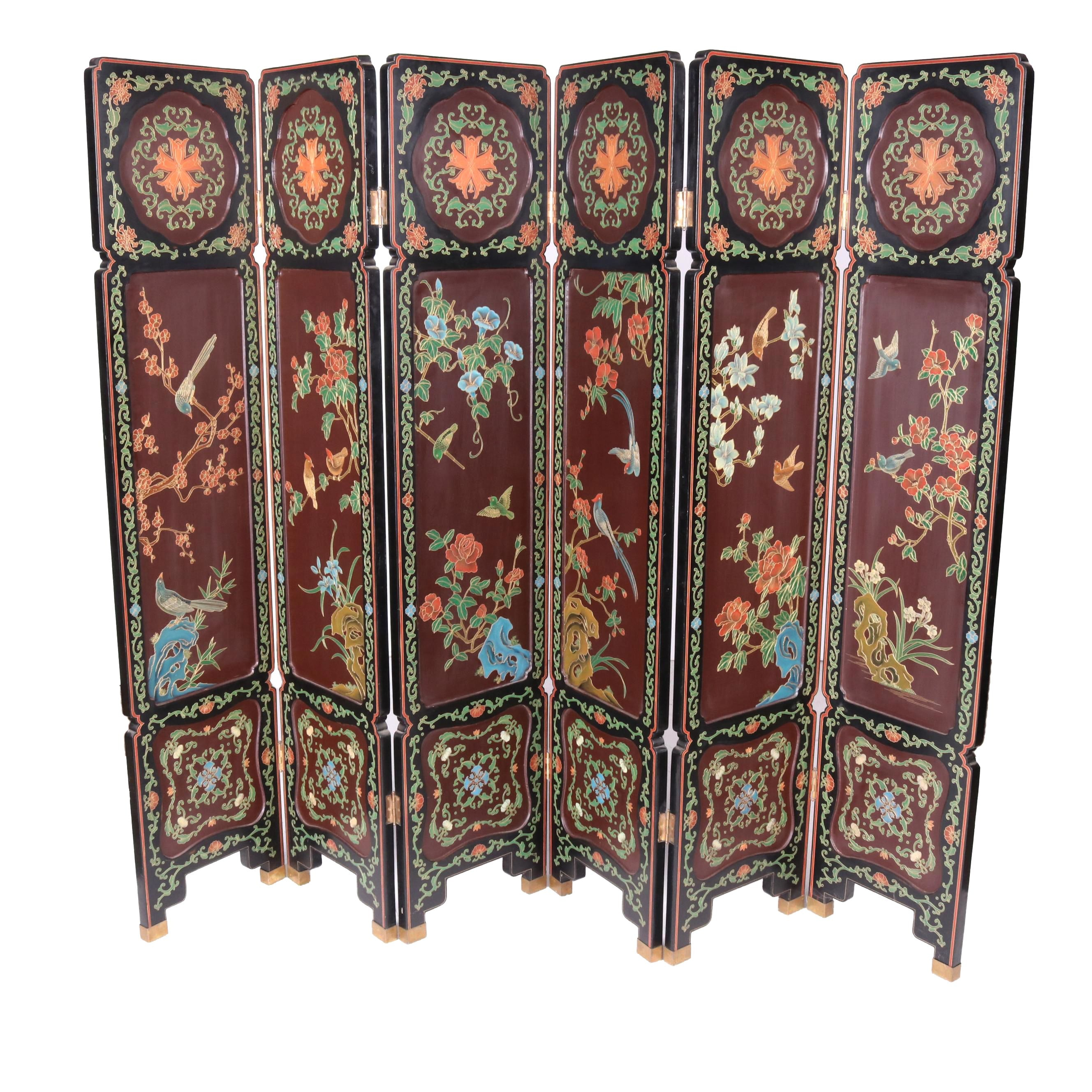 Vintage Chinese Black Lacquered Six Panel Folding Screen