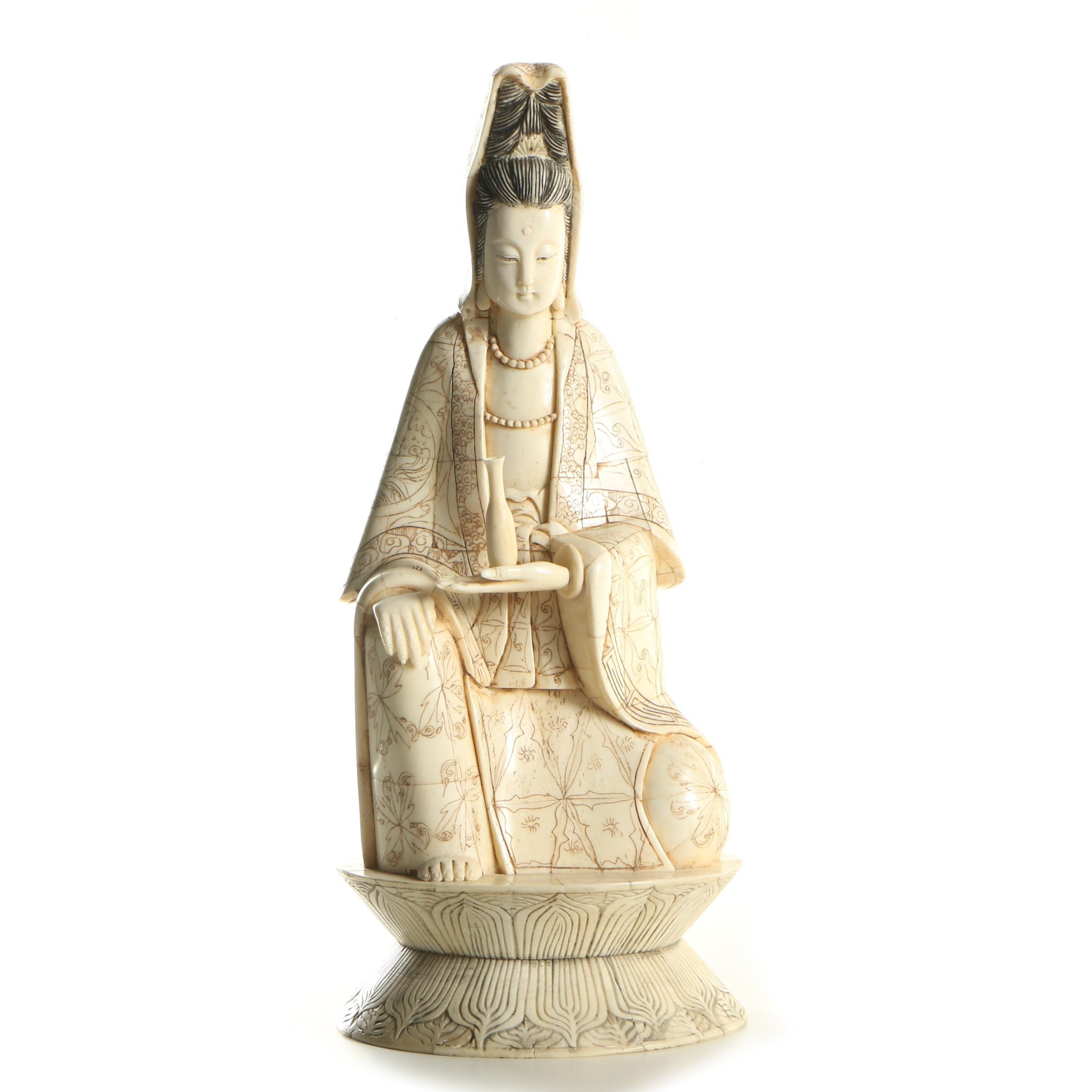 Chinese Sculpted Bone Guanyin Figurine