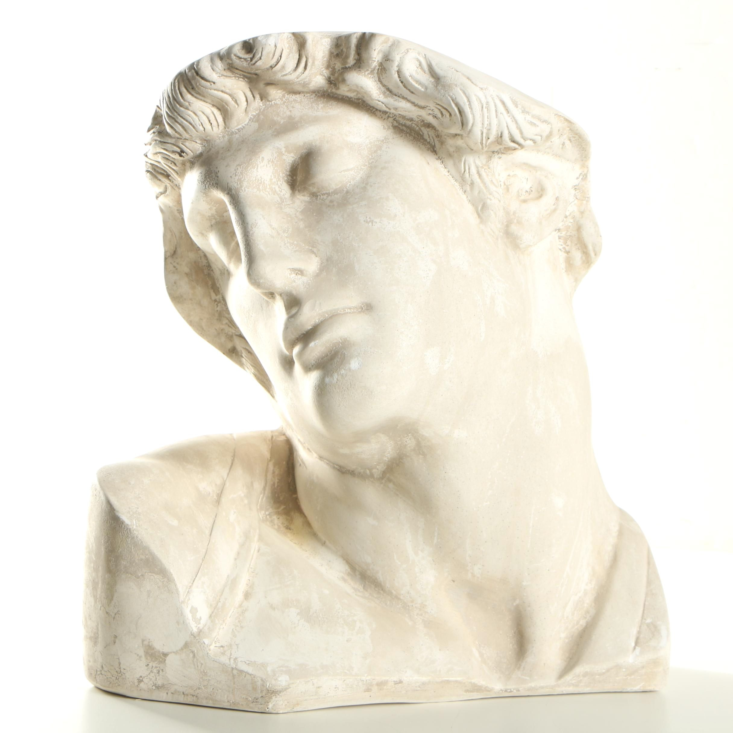 """Chalkware Sculpture After Michael Angelo's """"Dying Slave"""""""