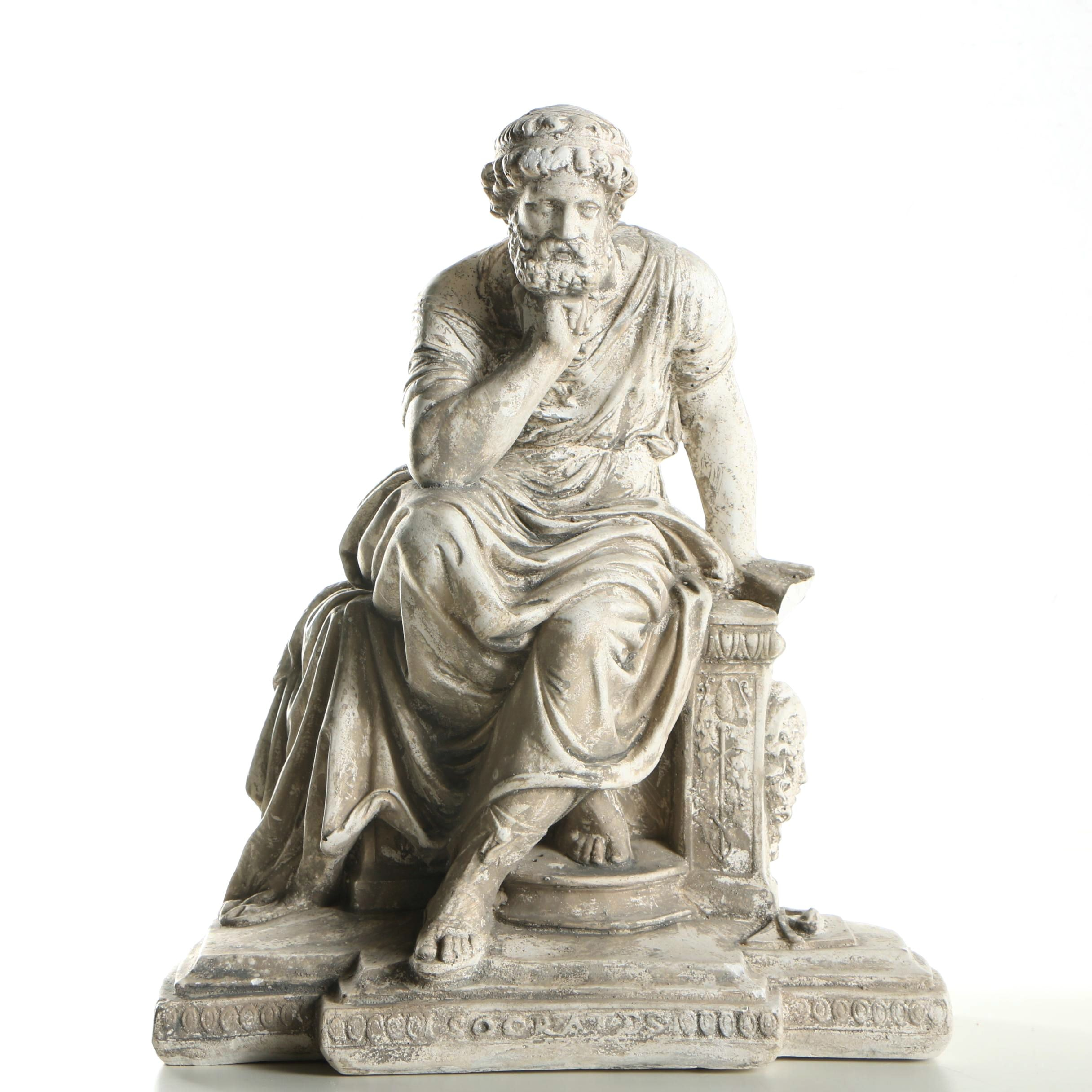 "Chalkware Figurine After Ancient Sculpture ""Socrates"""