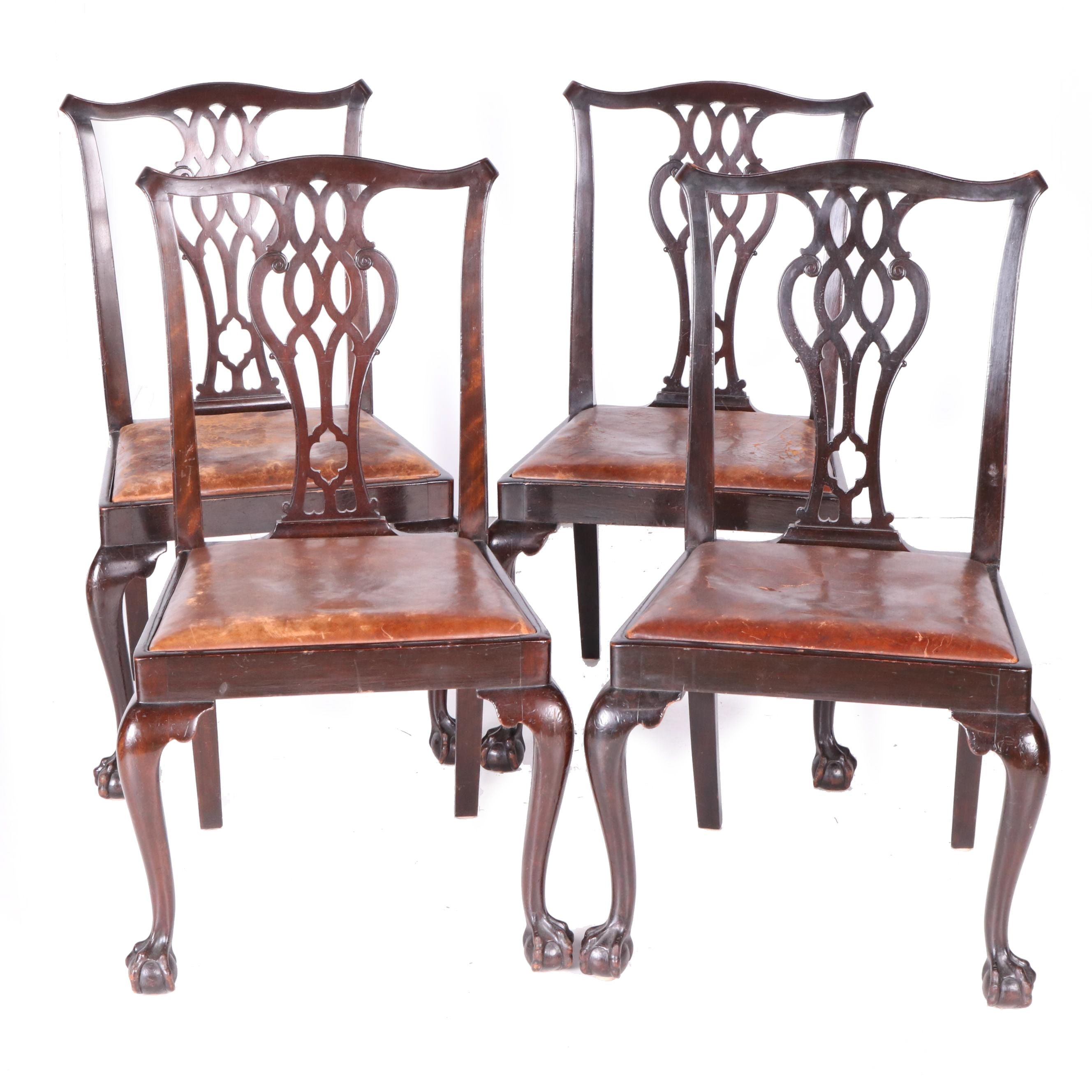 Vintage Chippendale Style Mahogany Side Chairs