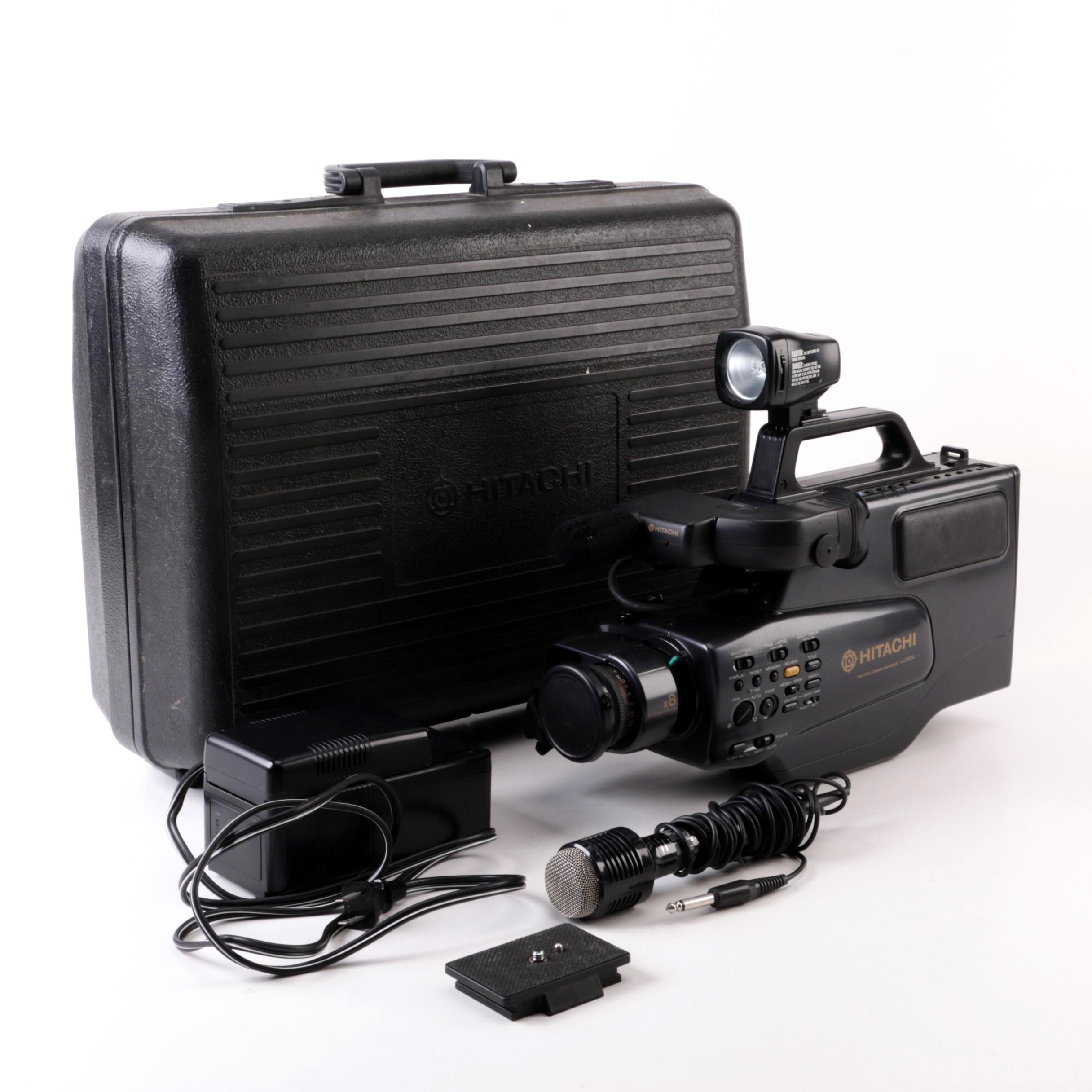 Hitachi VM-2400A VHS Camcorder with Case and Accessories